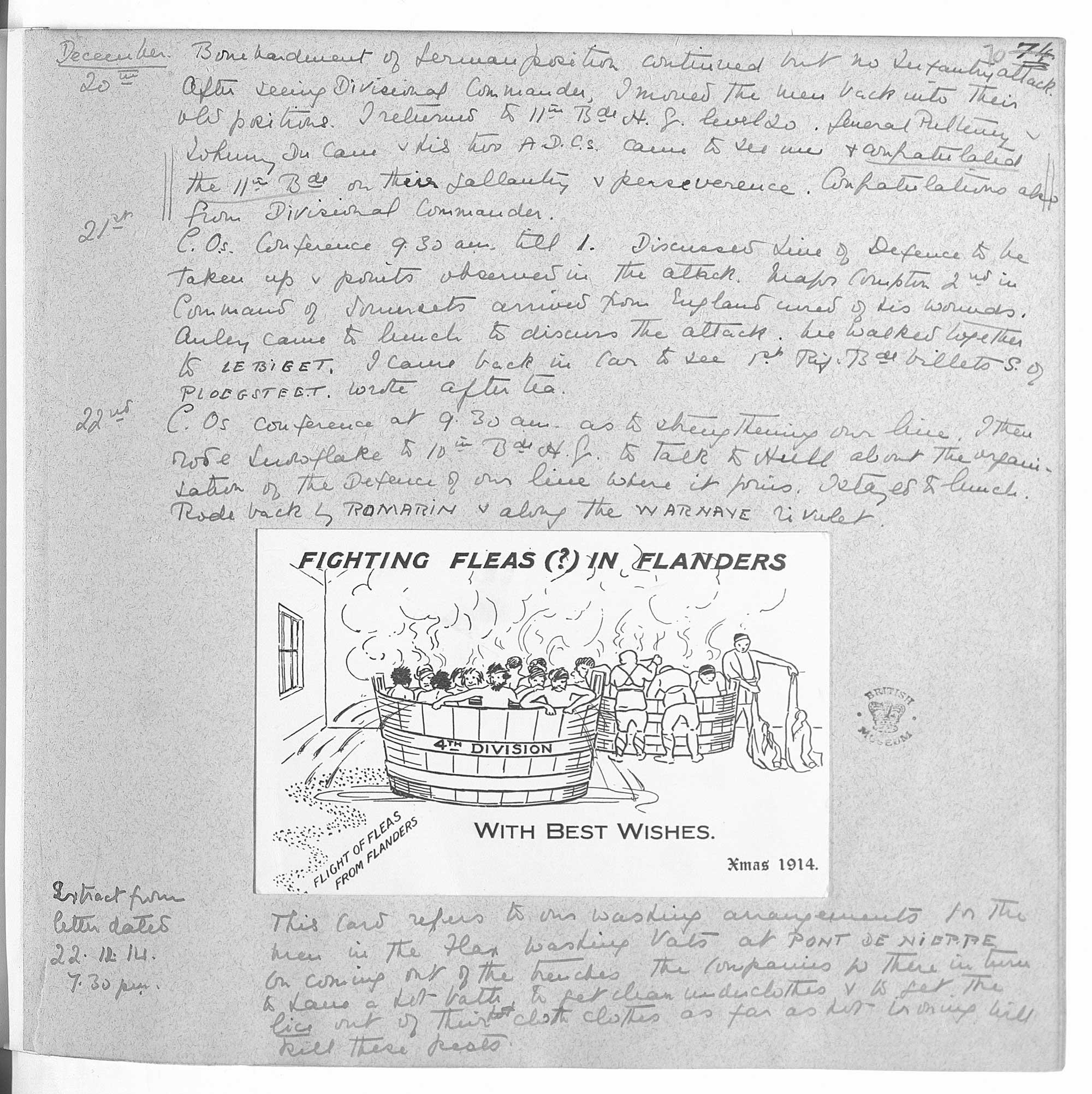'Fighting Fleas (?) in Flanders' (Hunter Weston diaries)