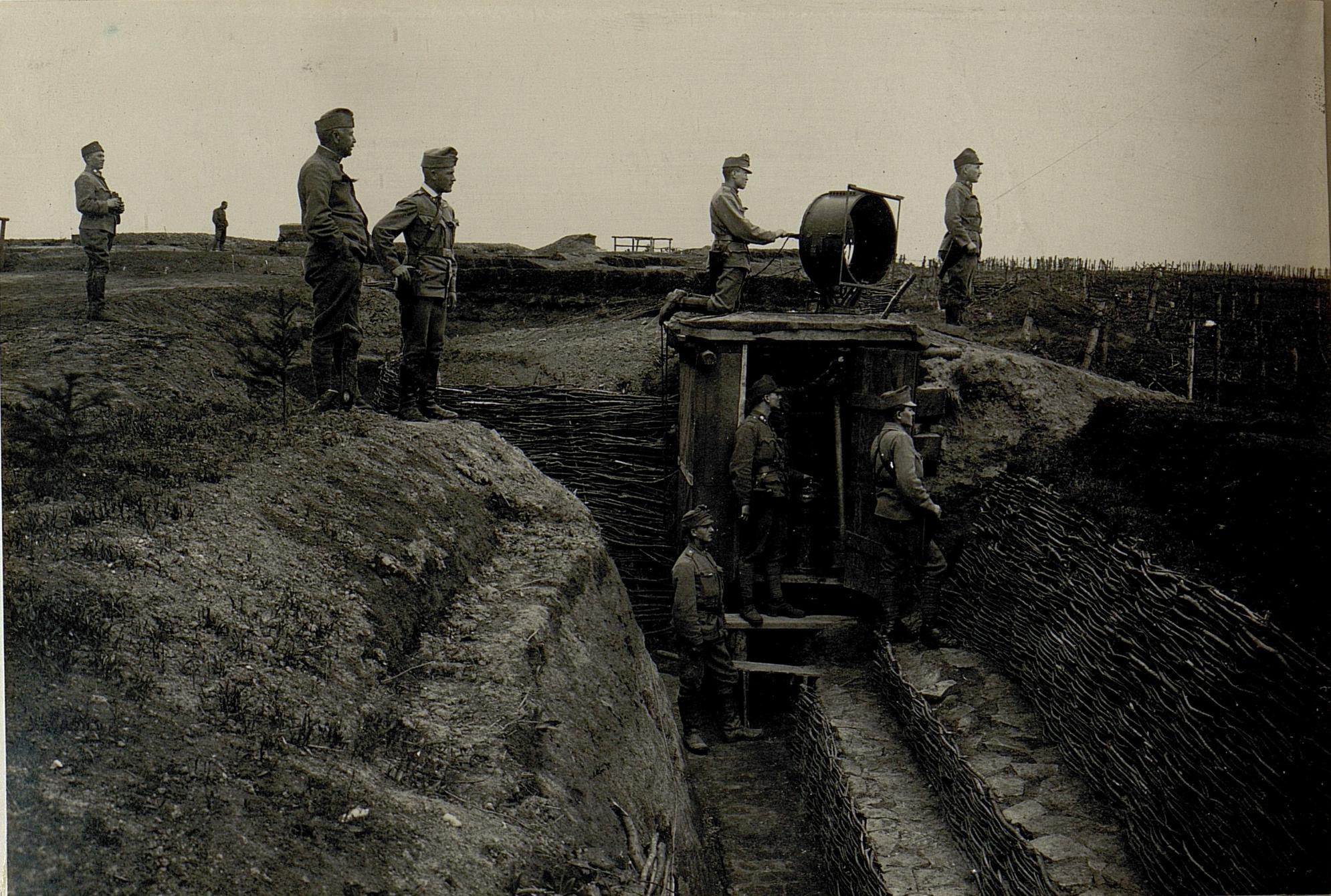 Photograph showing an electrically operated floodlight in a trench in Galicia near the Strypa River, enabling battle to continue into the night.
