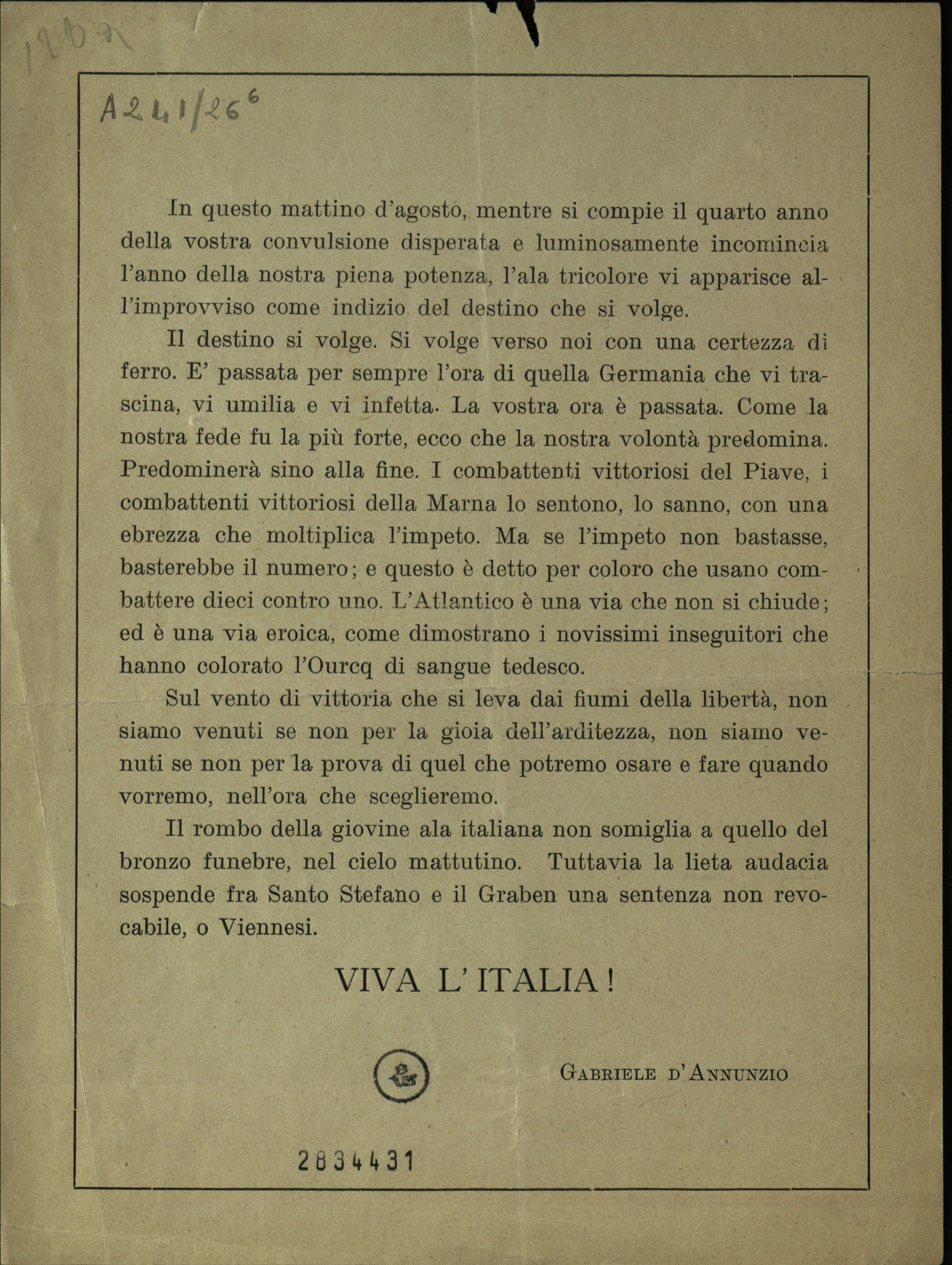 Flyer dropped during the flight over Vienna by the air squadron of Gabriele d'Annunzio, highlighting the allied victories in Italy and in France during the final months of the war.