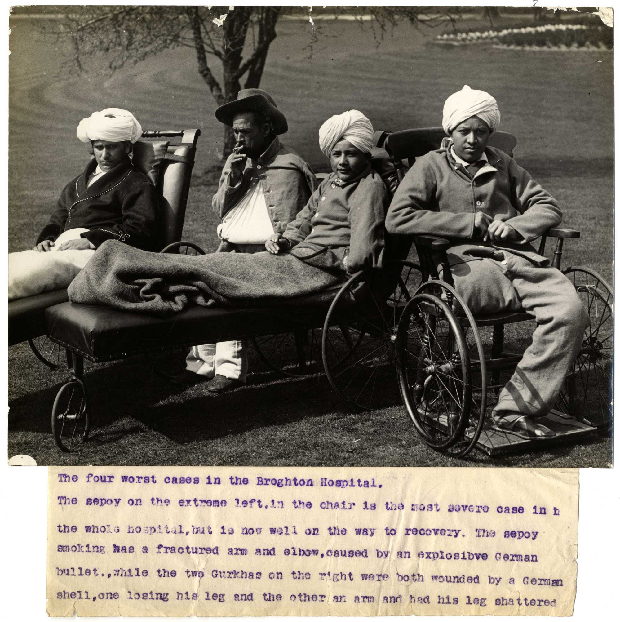 Four wounded Indian soldiers convalescing in a hospital in Brighton, 1915.