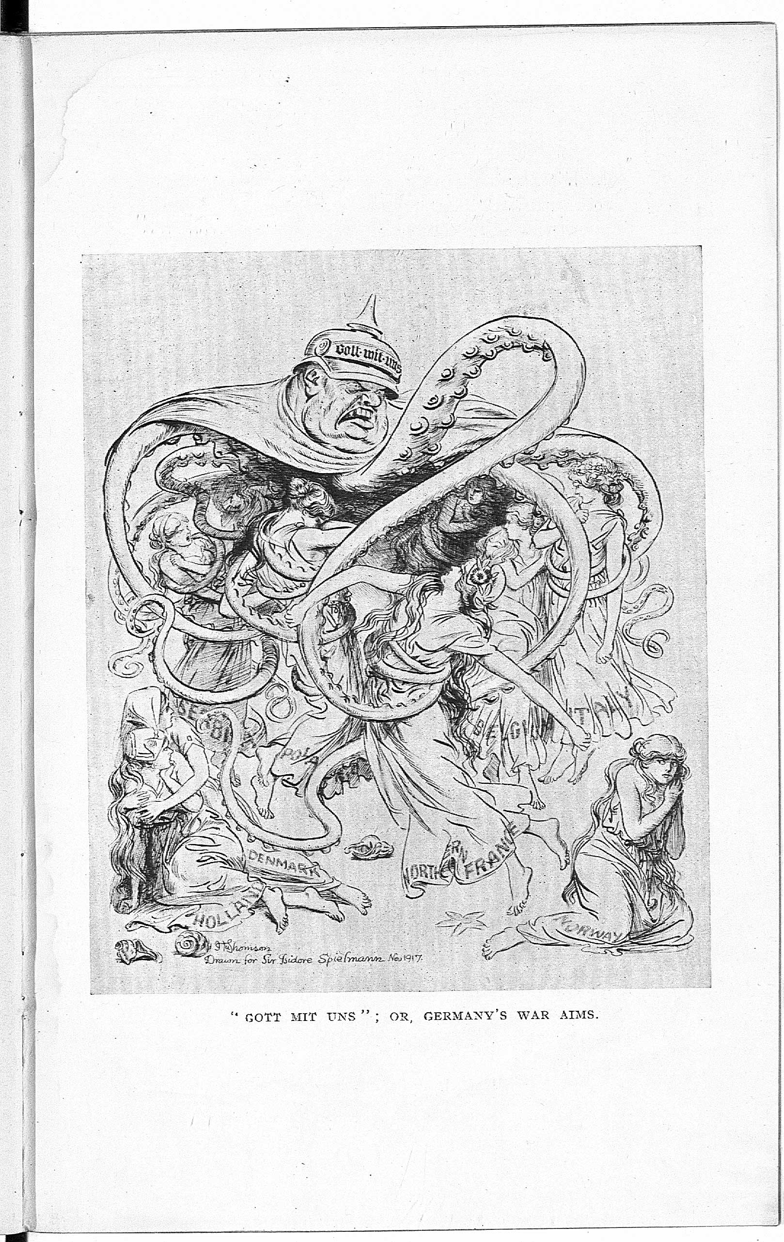 'Germany's Impending Doom': an open letter written by Sir Isidore Spielmann to the prominent German writer Maximilian Harden, with cartoons by Hugh Thompson, 1918.