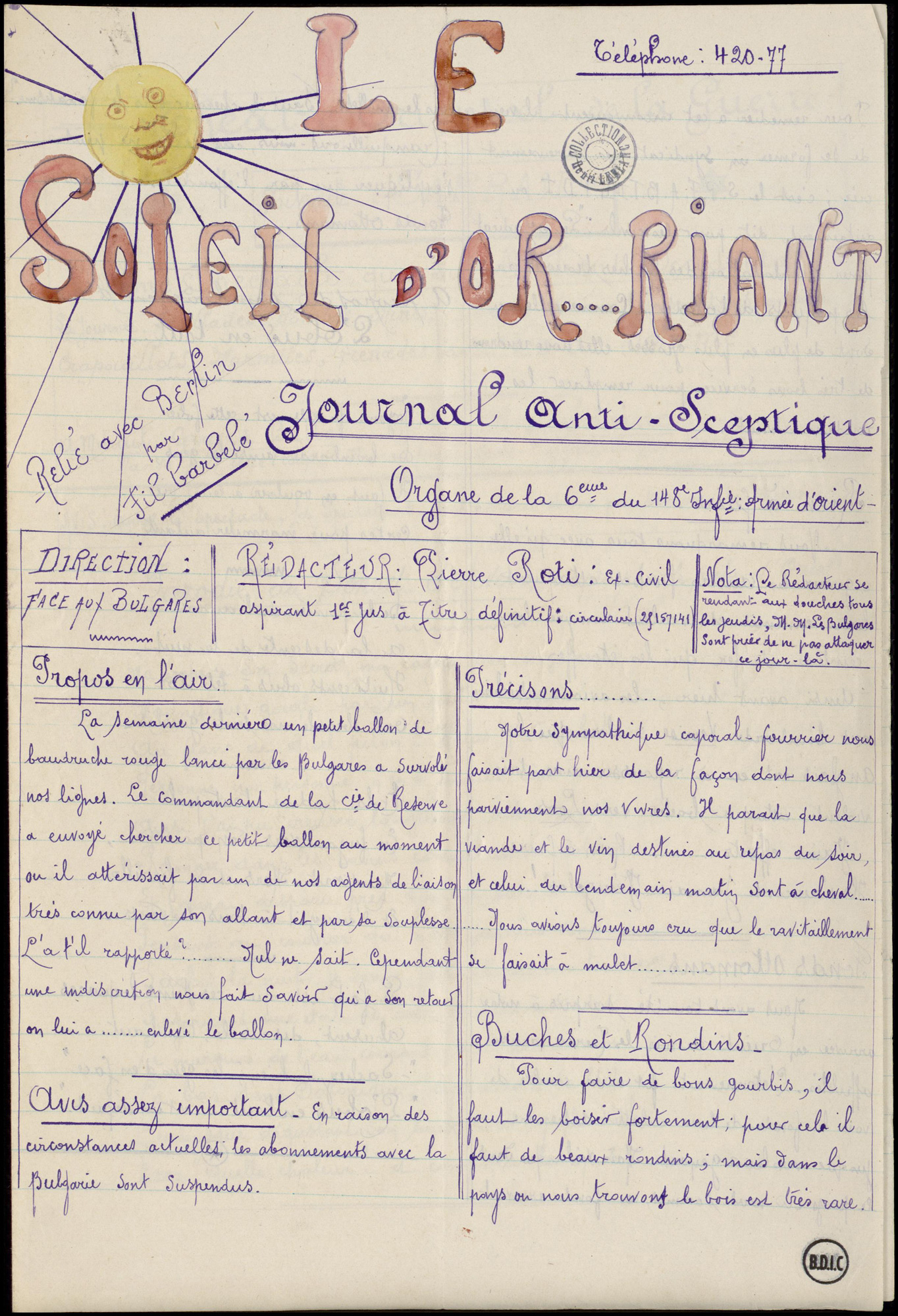 'Le Soleil d'Or…Riant' is a rare example of a trench newspaper, written on the Eastern Front.
