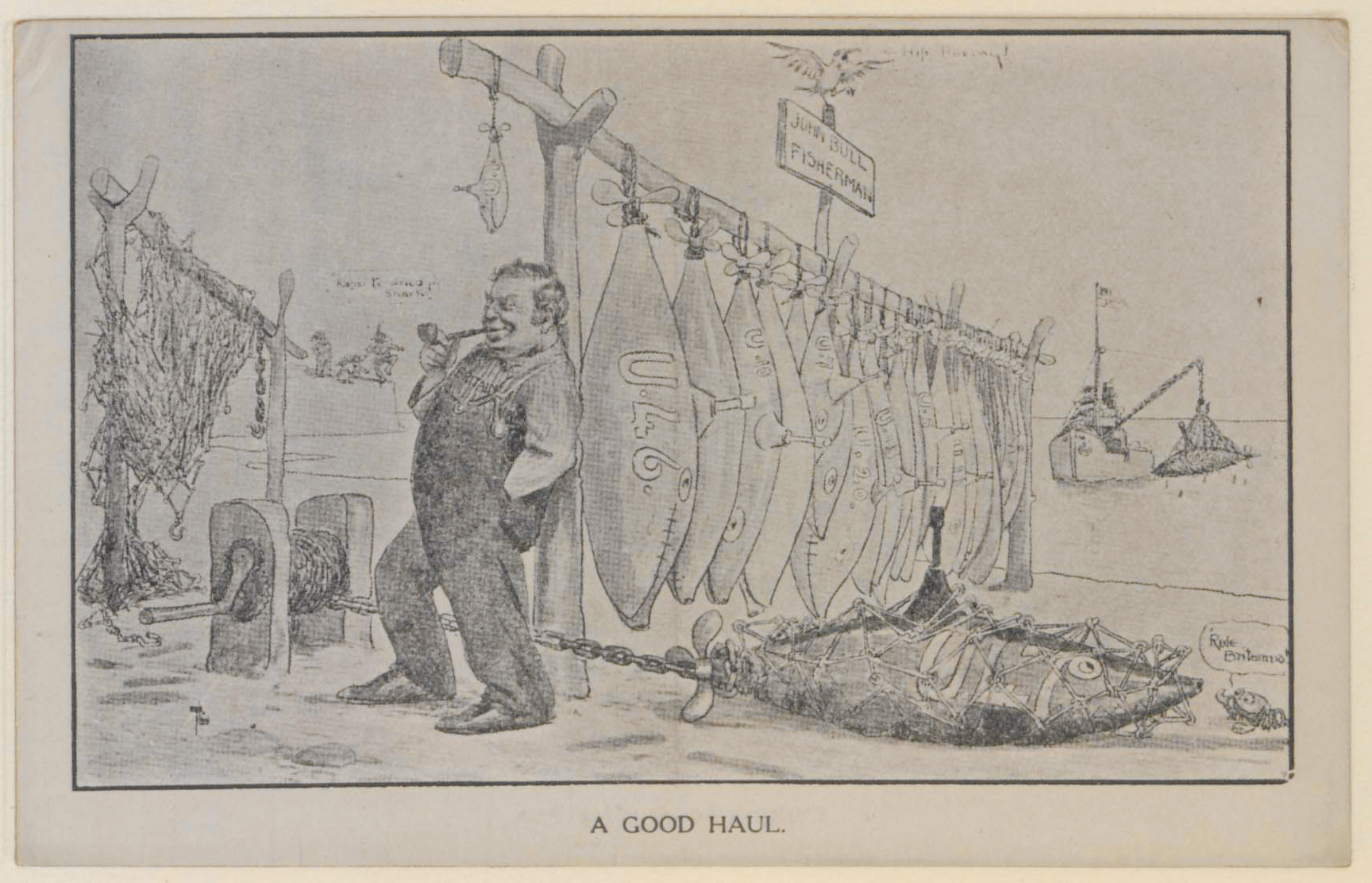 Satirical postcard from 1917 showing 'John Bull fisherman', a personification of Britain, with a haul of U-boats hung up to dry.