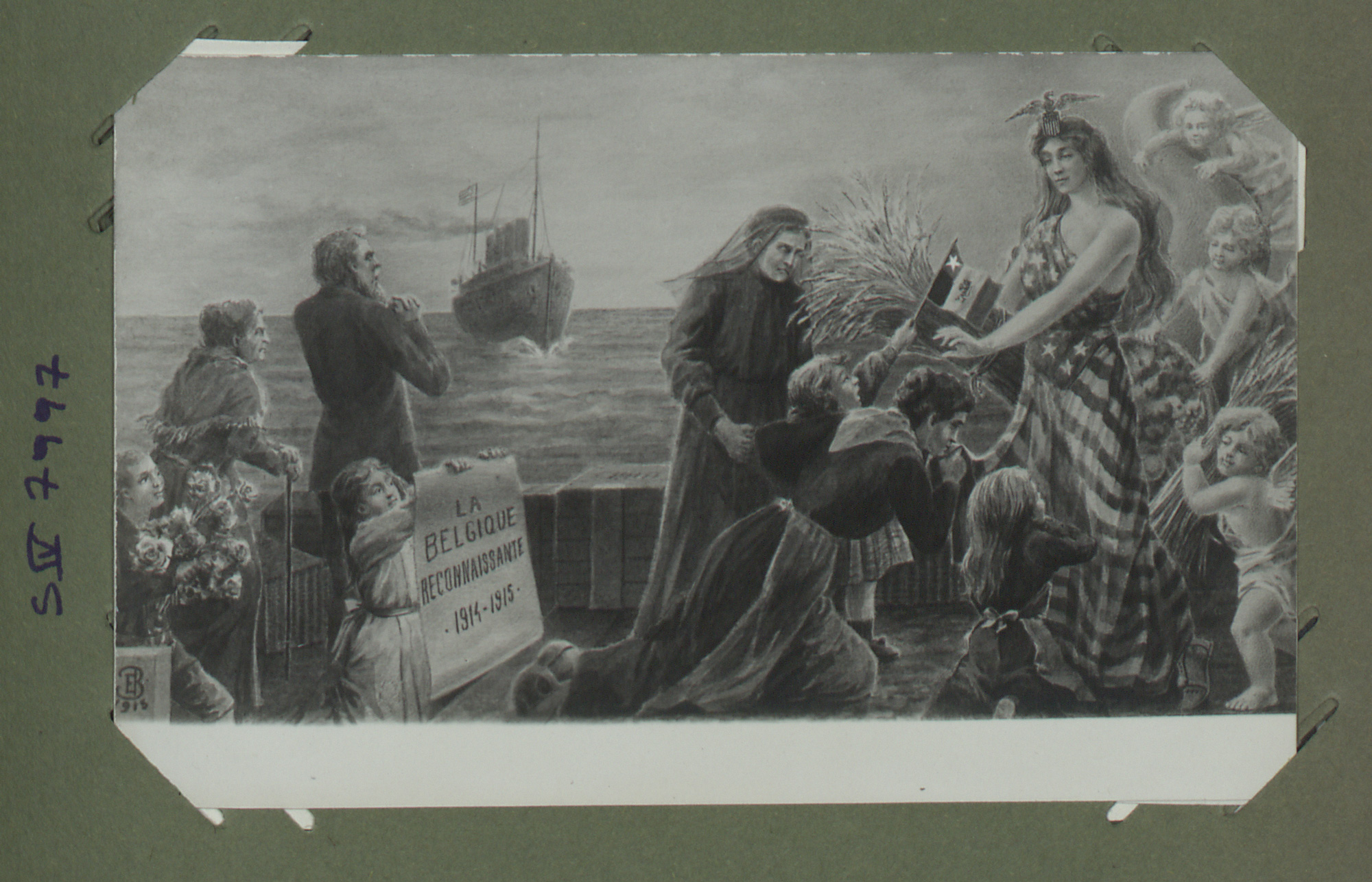 Postcard celebrating Belgian gratitude for American support, and seeing the US as a land of plenty for Belgian refugees.