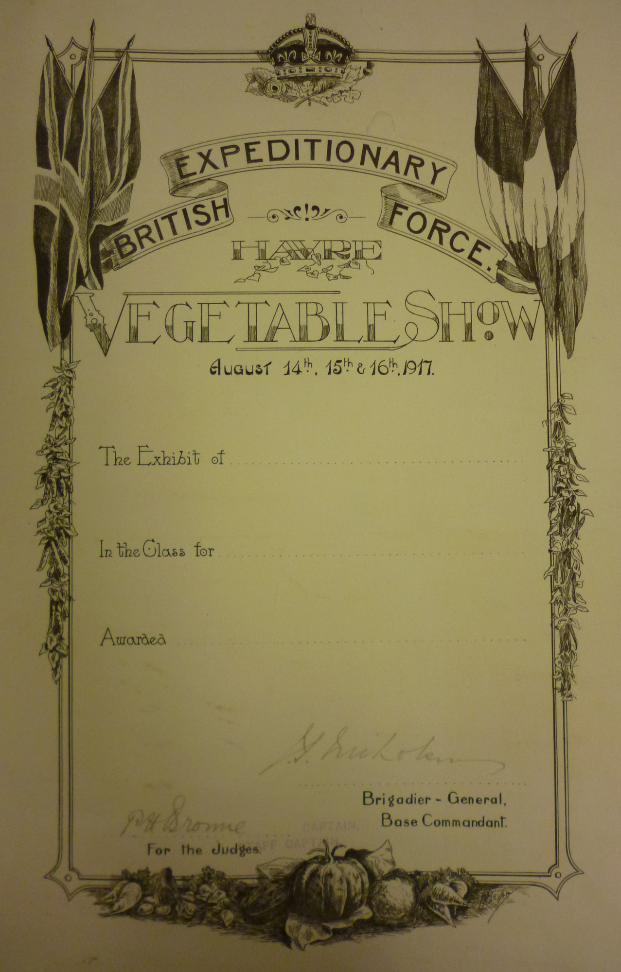 Le Havre Vegetable Show certificate