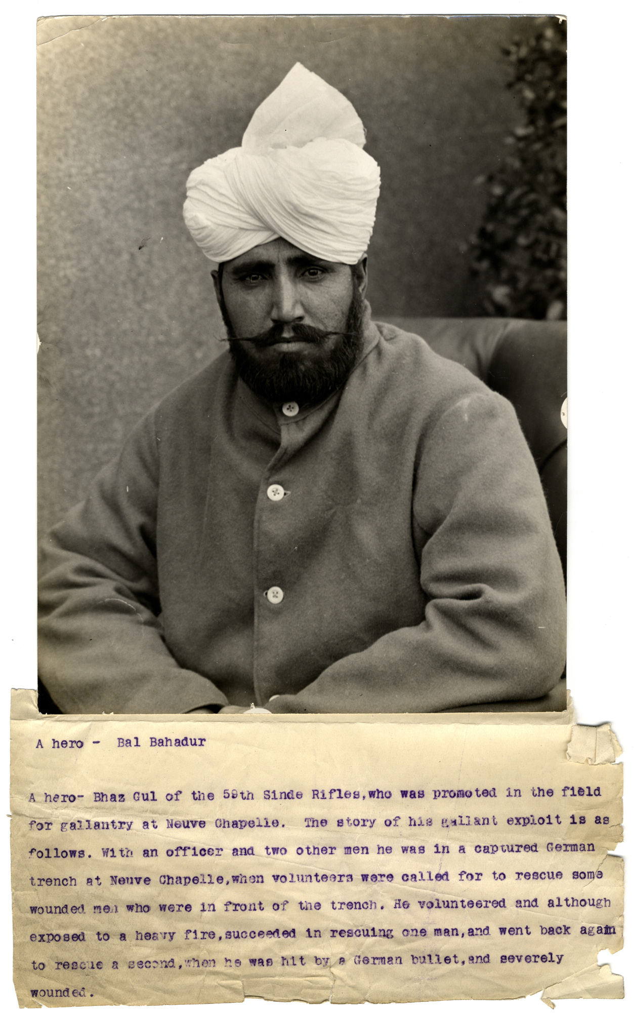 Photograph taken in 1915 of Bal Bahadur (Bhaz Gul) who was wounded when rescuing his fellow soldiers in France.