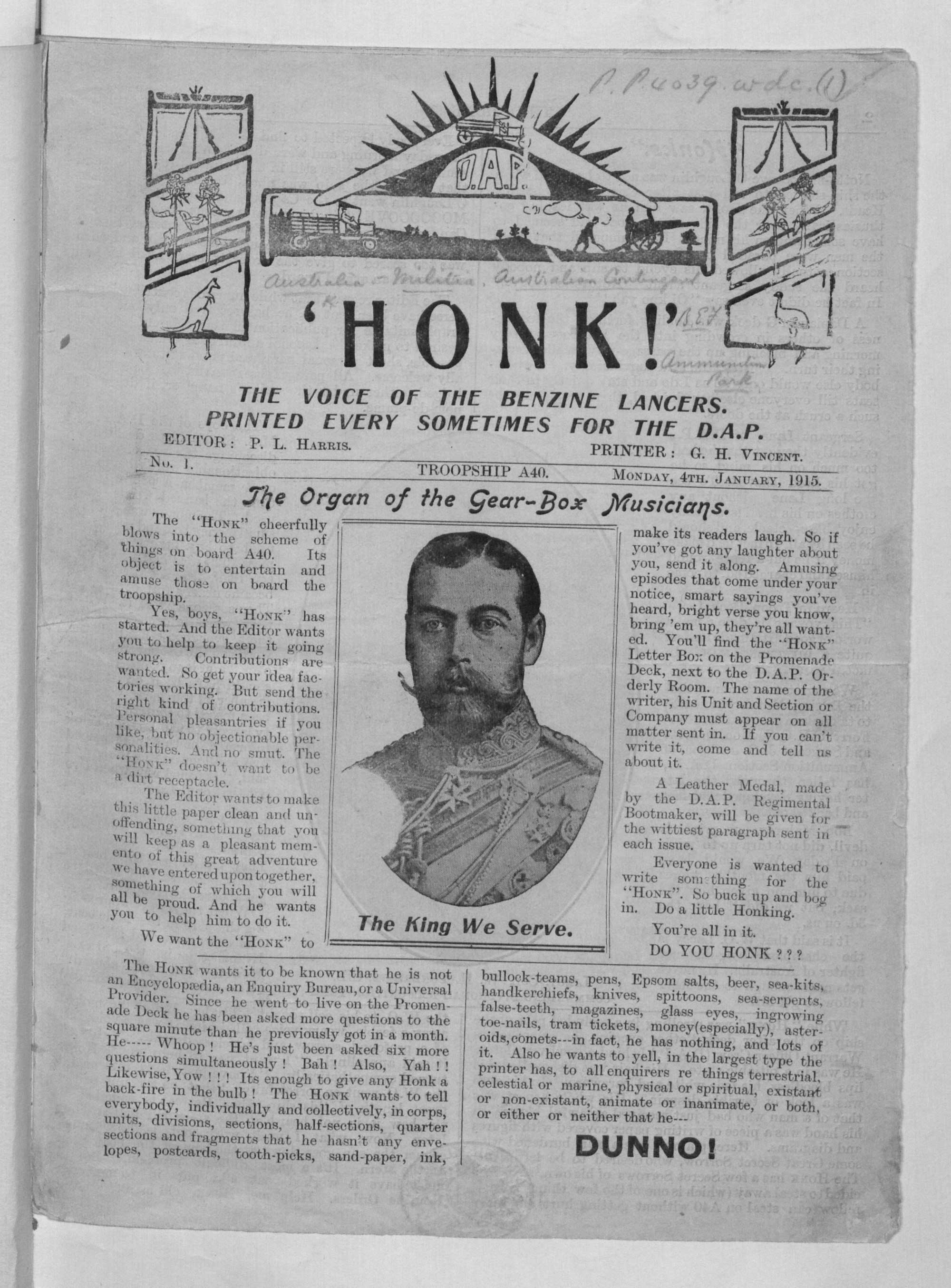 Trench journal 'Honk', first published in 1915, was typically filled with humour from the trenches and news from home.
