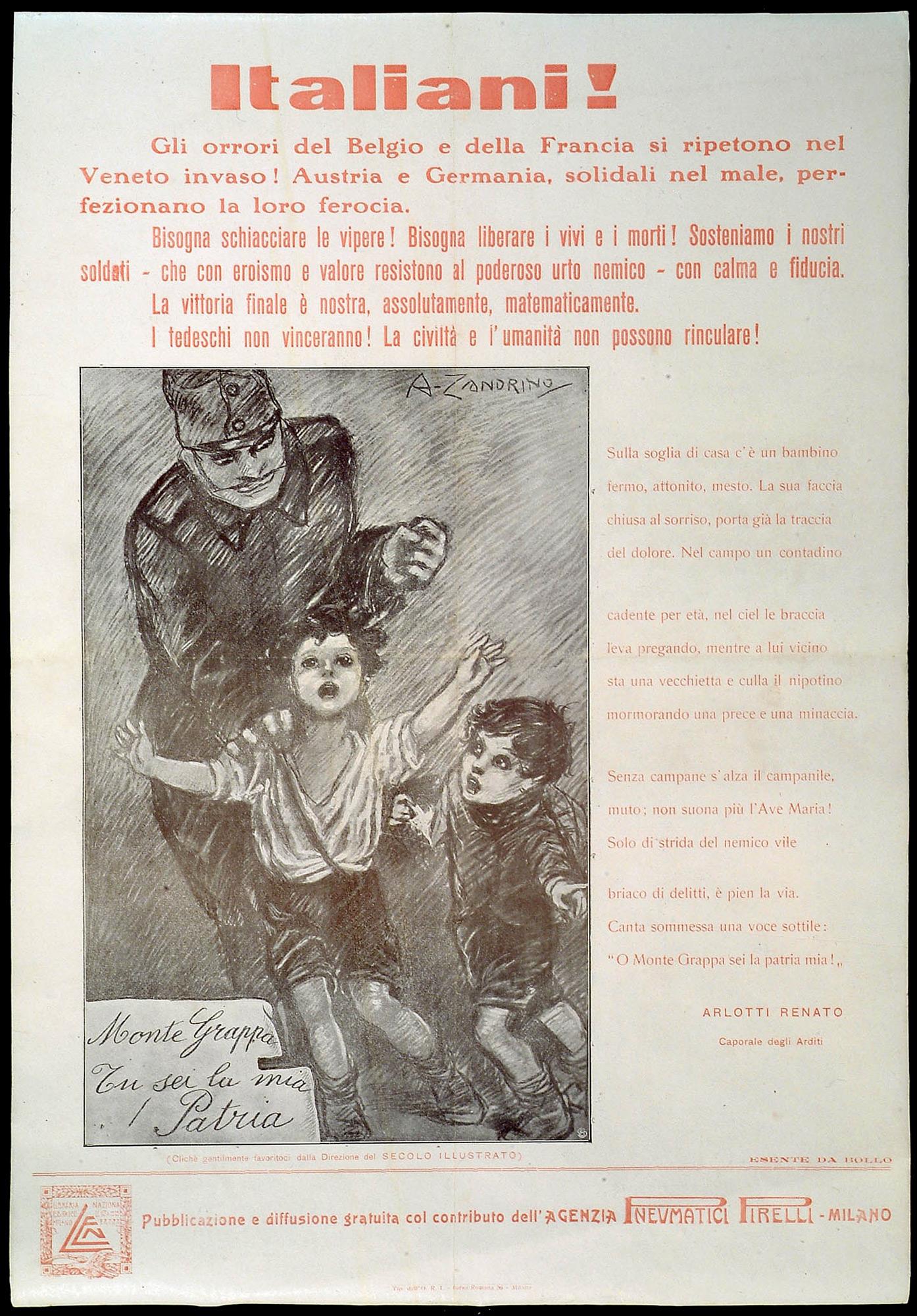 Propaganda poster, created by Renato Arlotti and Adele Zandrino, showing Germans as barbaric killers, 1918.
