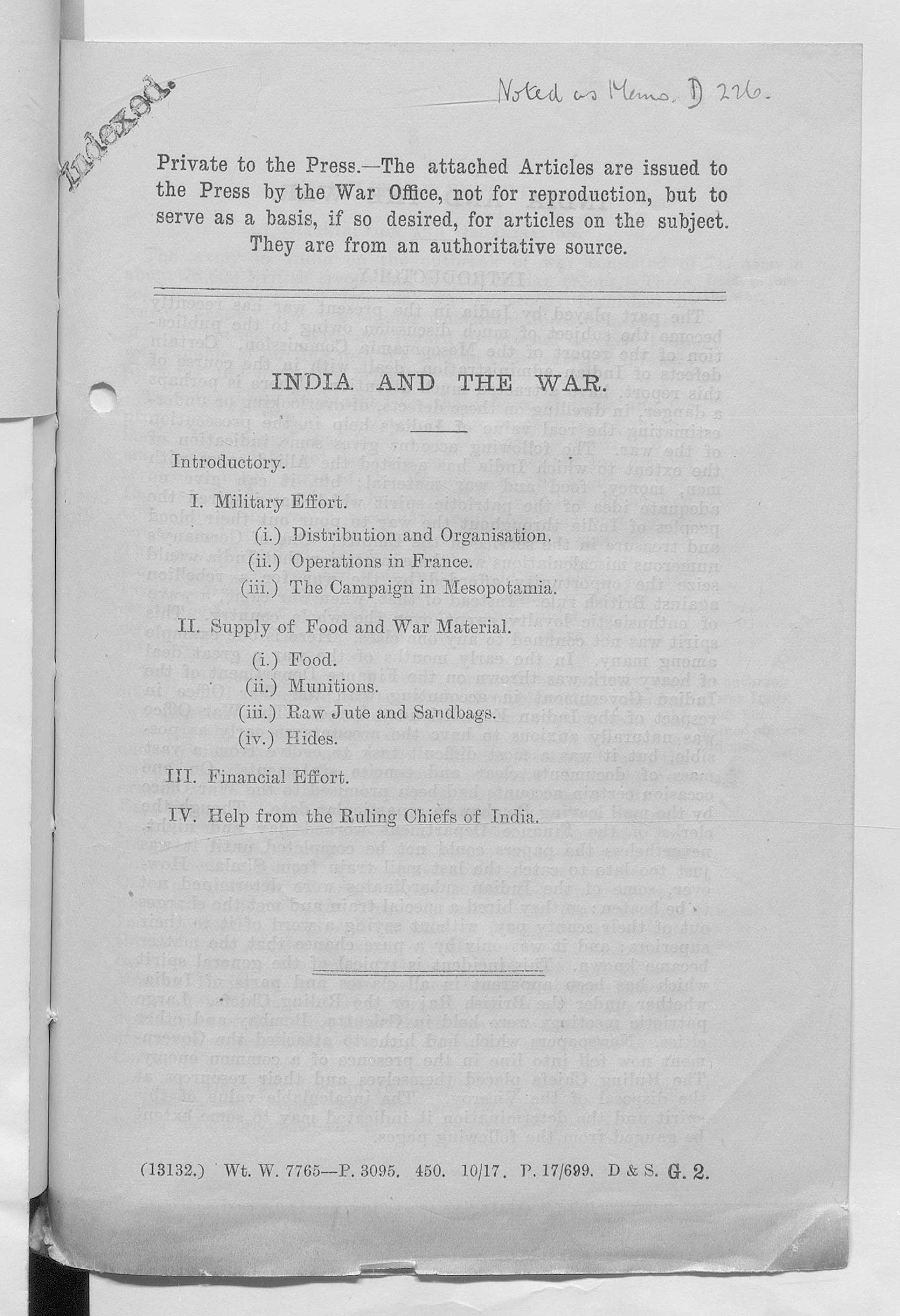 Press briefing from the War Office, 1917, designed not for reproduction but as a basis for articles.