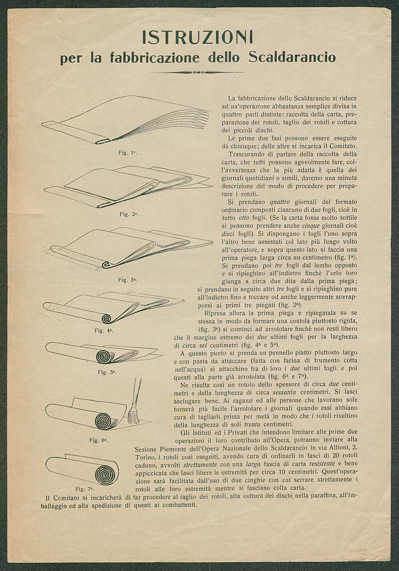 """Instructions for the fabrication of a scaldarancio (""""ration warmer"""")"""