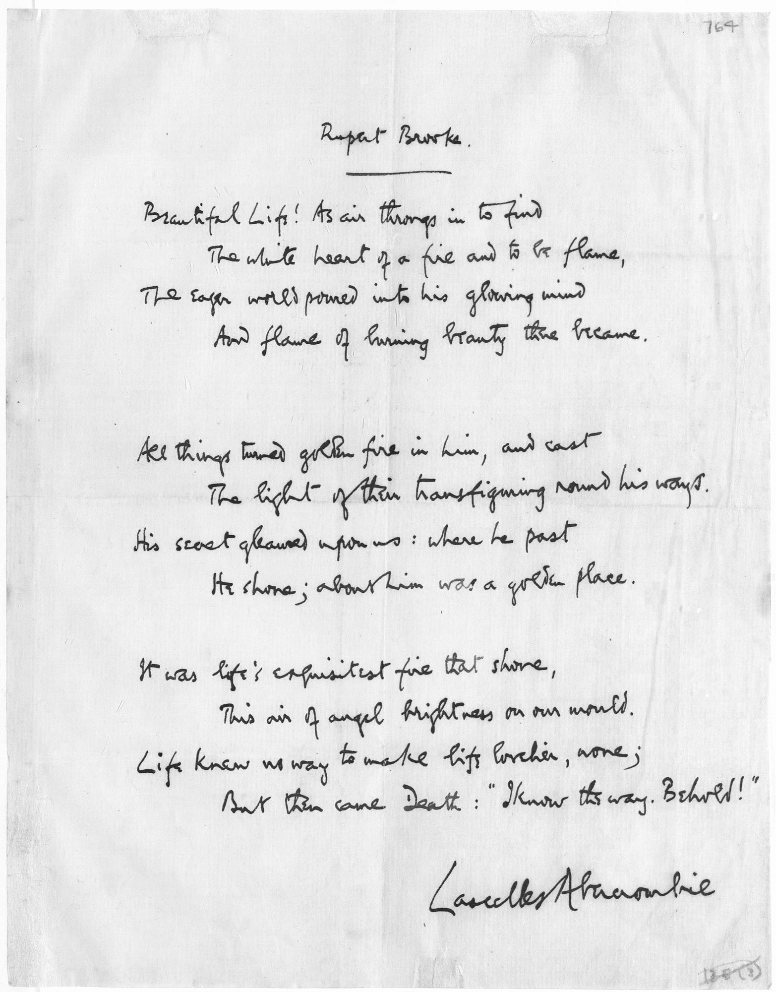 Lascelle Abercrombie's Rupert Brooke poem