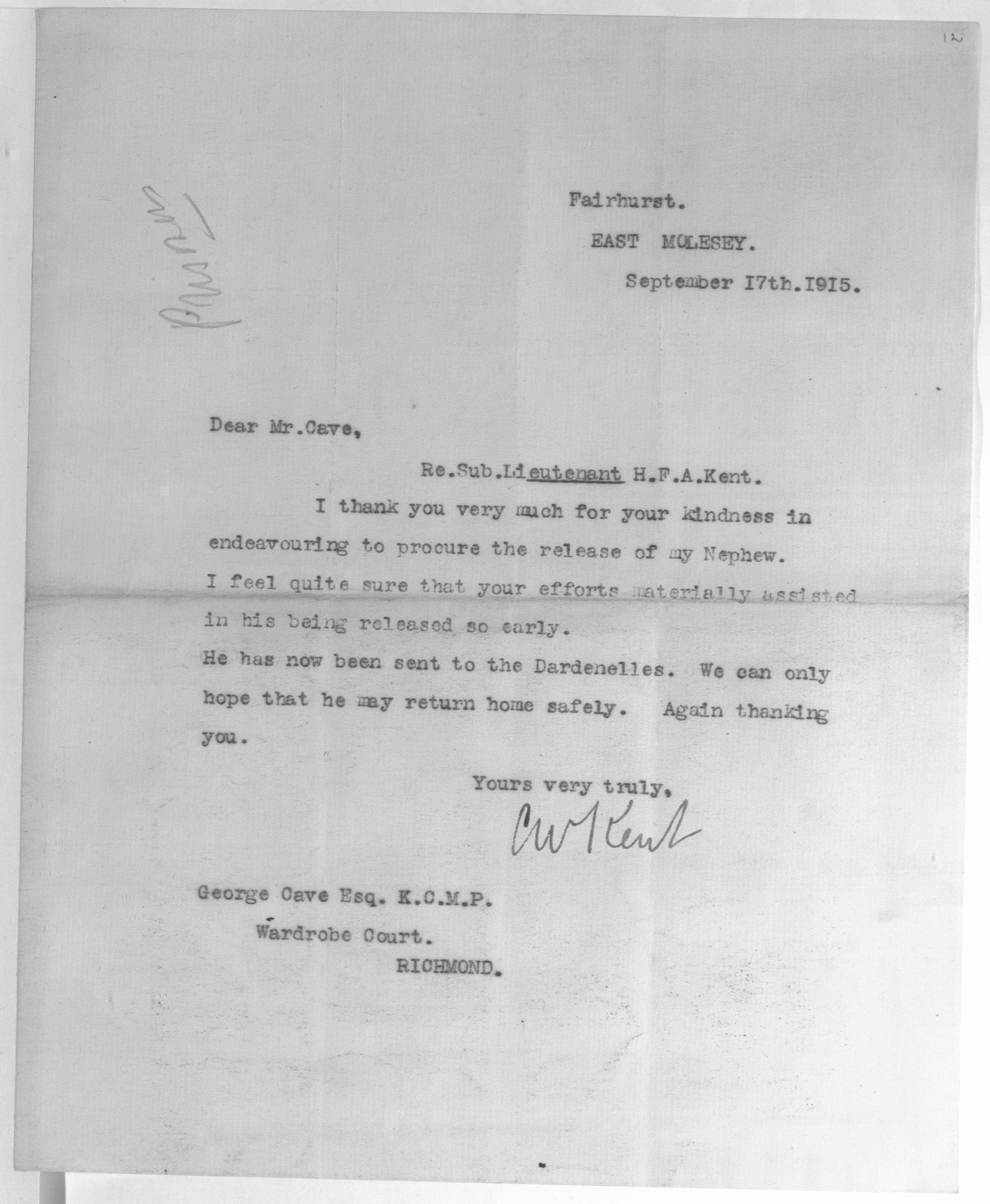 Letter from C.W. Kent thanking George Cave for the return of his nephew (Cave Papers)