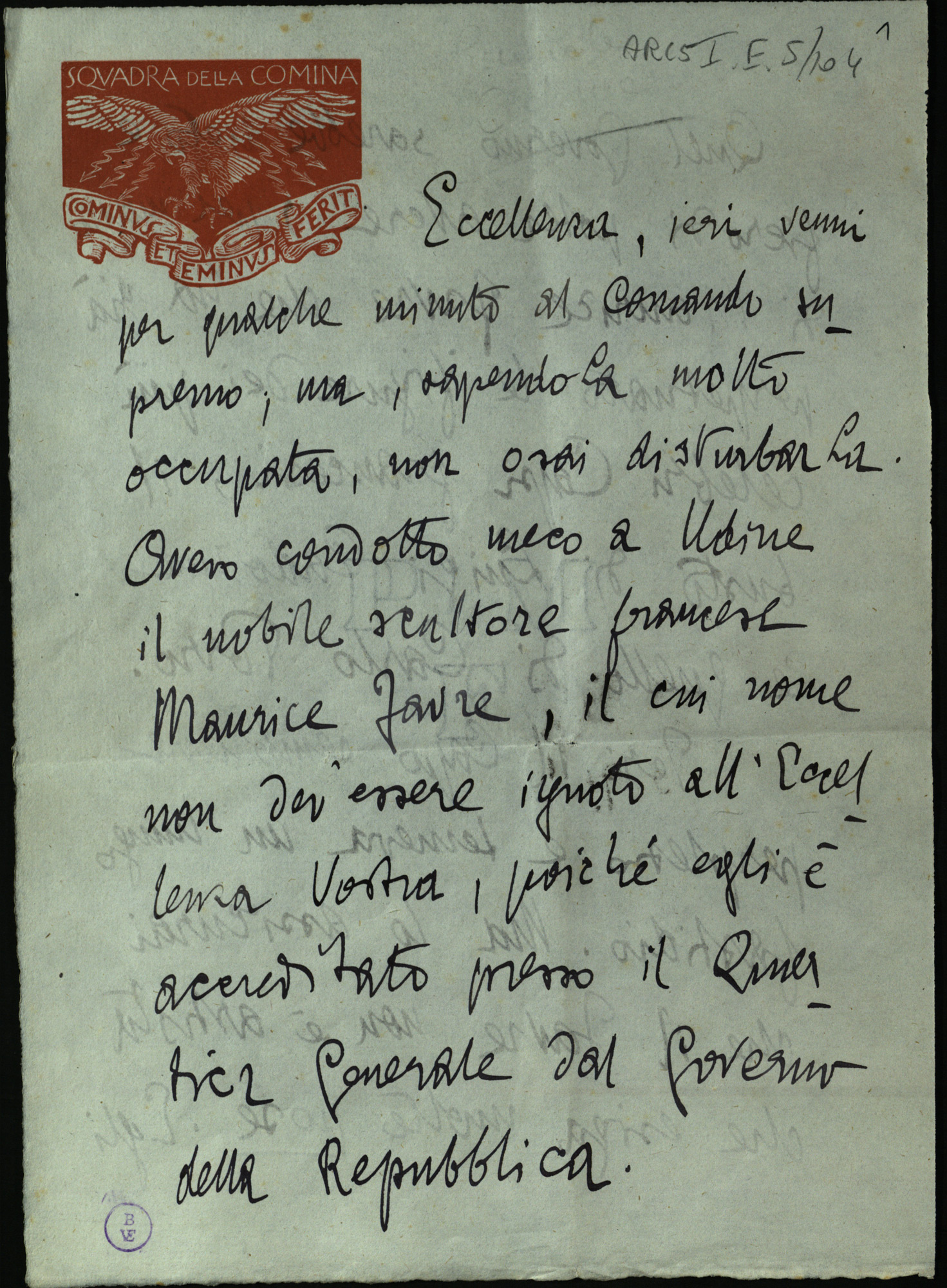 Letter from Gabriele D'Annunzio to Luigi Cadorna