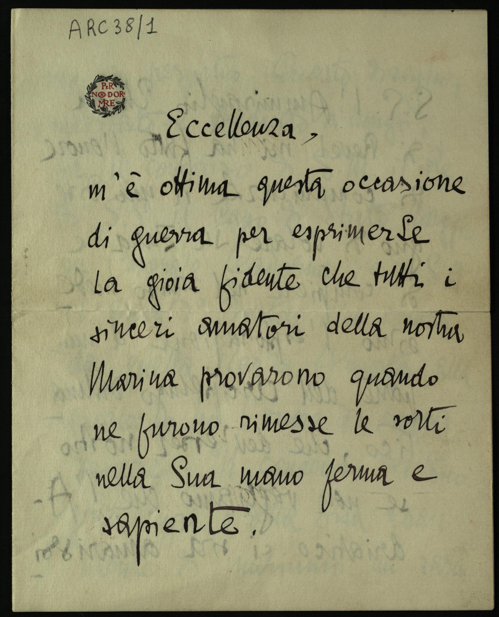 Letter from Gabriele D'Annunzio to Camillo Maria Corsi, 10 November 1915