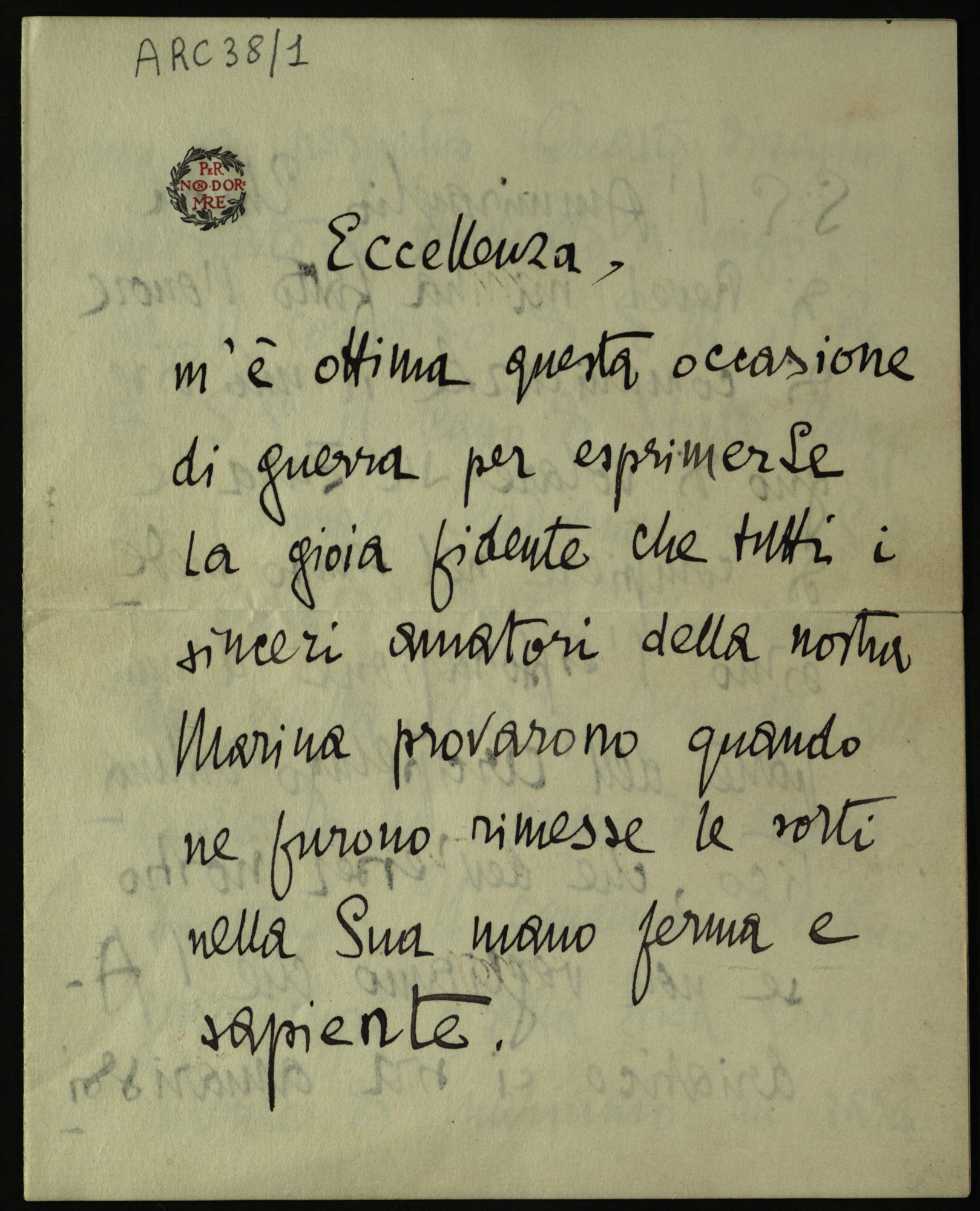 Letter from Gabriele D'Annunzio to Camillo Maria Corsi, 10 November 1915