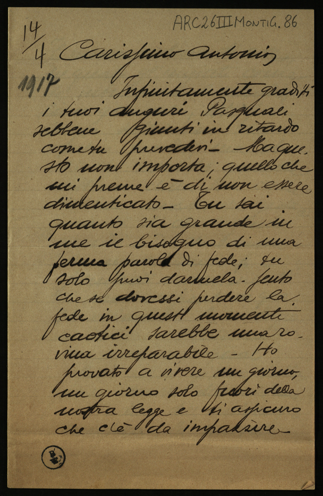 Letter from Goffredo Monti to Antonio Bruers