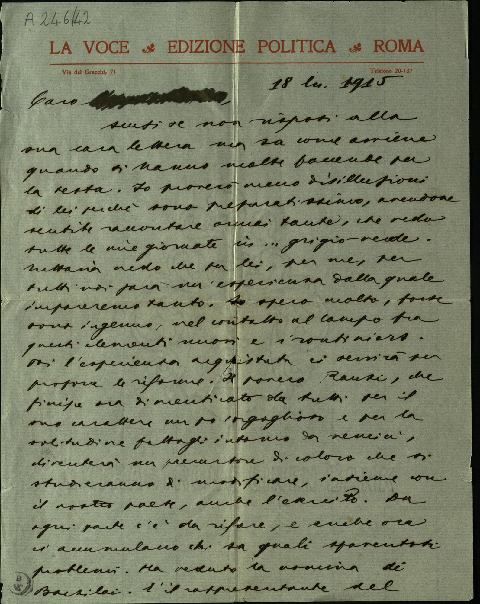 Letter from Giuseppe Prezzolini to Federico Comandini