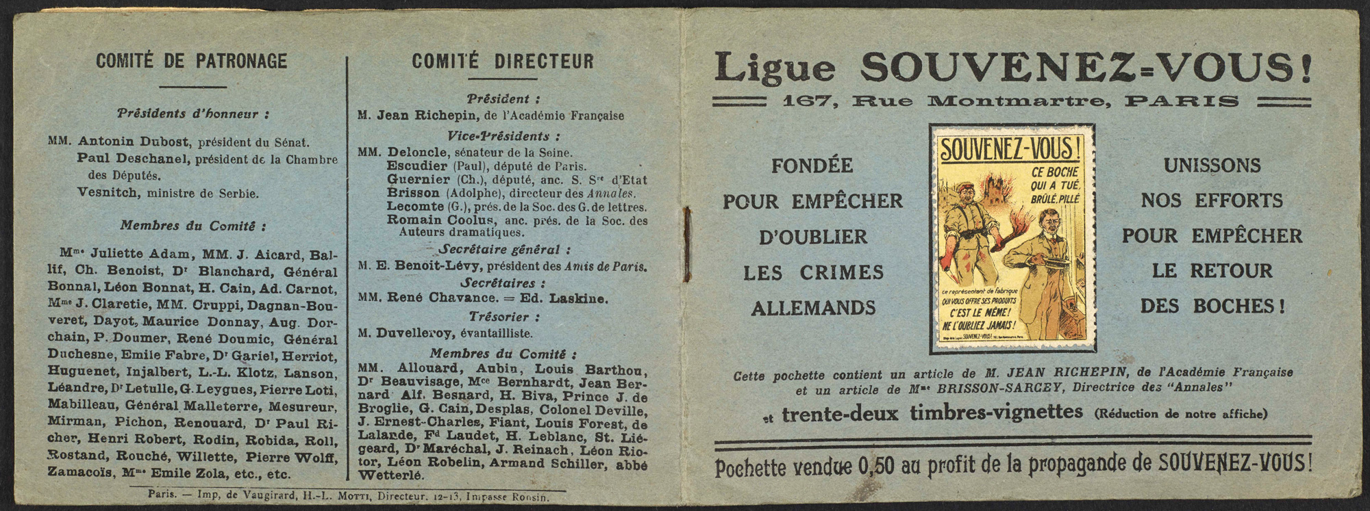 A booklet and stamps produced by the French league, Souvenez-vous (French for 'remember'), which aimed to perpetuate the memory of German crimes after the war.