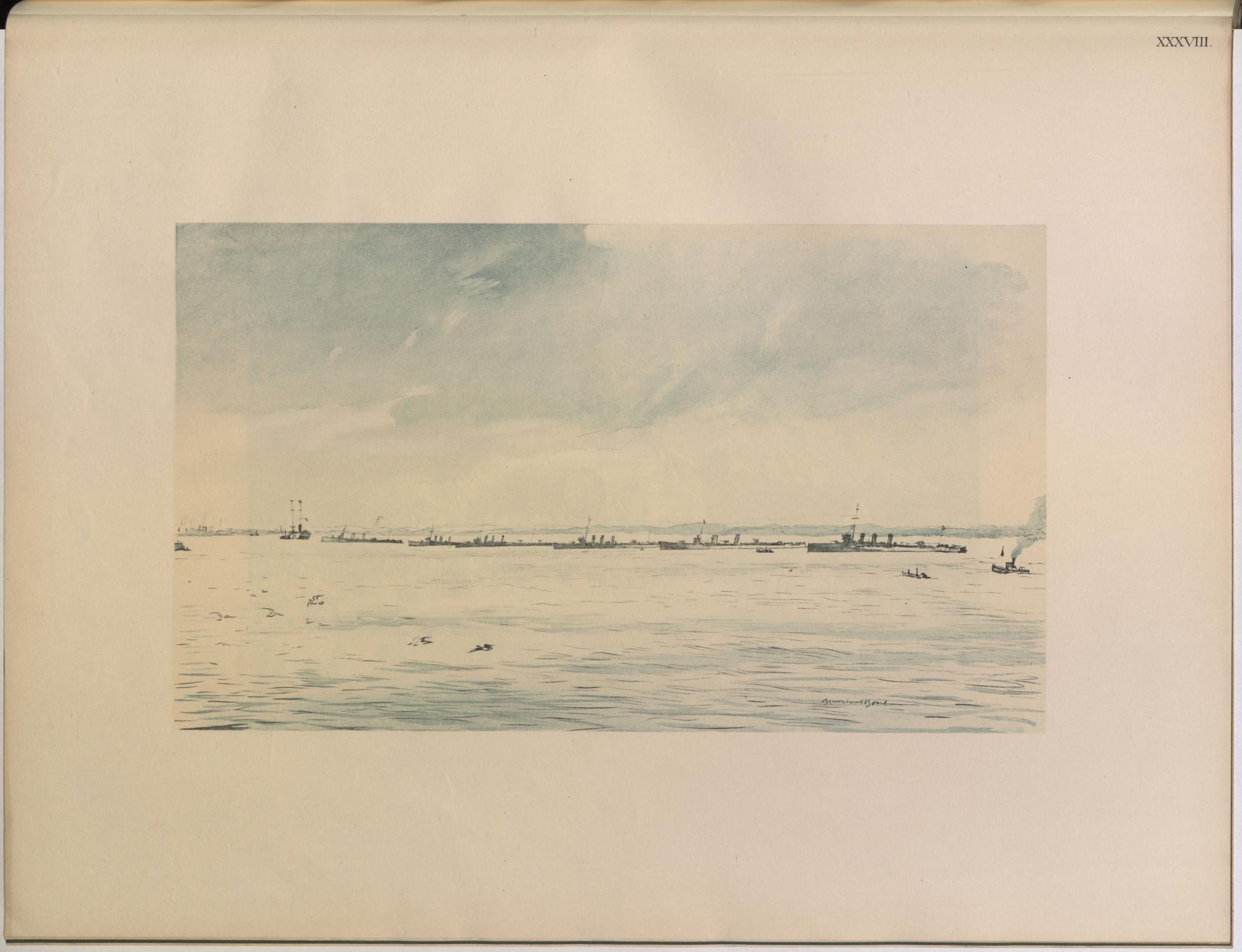 'Line of destroyers' by Muirhead Bone, official British War Artist.