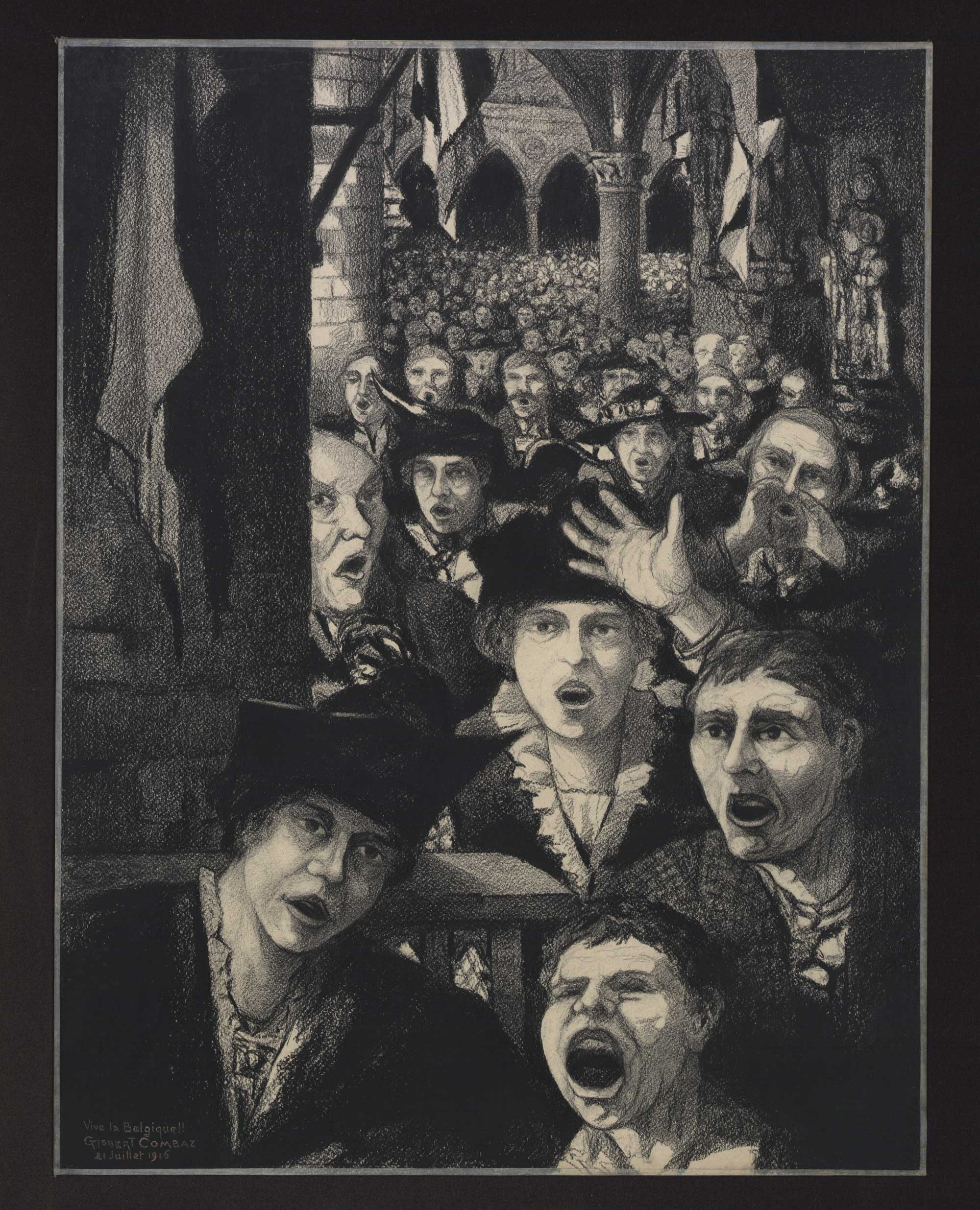 Picture by Belgian artist Gisbert Combaz (1869-1941) showing a crowd gathered on National Day on 21 July 1916, shouting 'Long live Belgium!'.