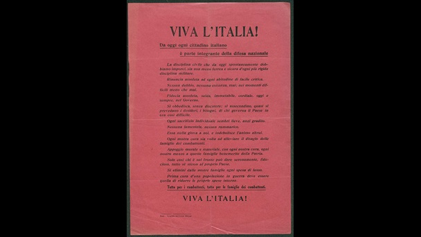 This leaflet, from the newspaper 'Il Messaggero', is an appeal to the Italian people asking them to use the army as a model to which the whole of society should conform, 1915.