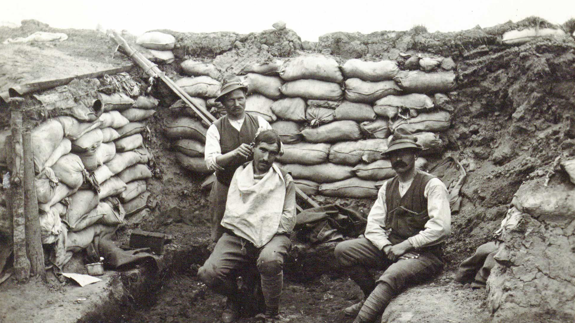 Alpine barber in the trenches of Cerna (detail)