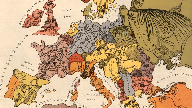 Map of Europe in 1914 (detail)
