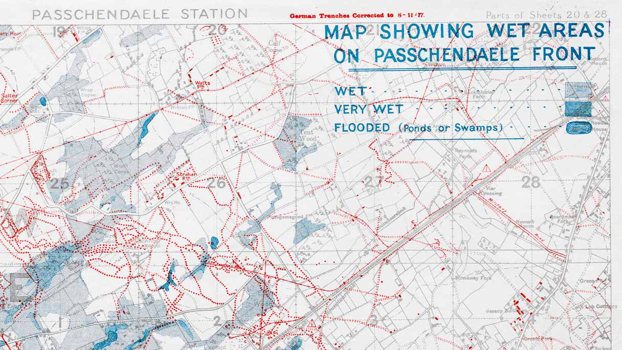 Map showing wet areas of Passchendaele front (detail)
