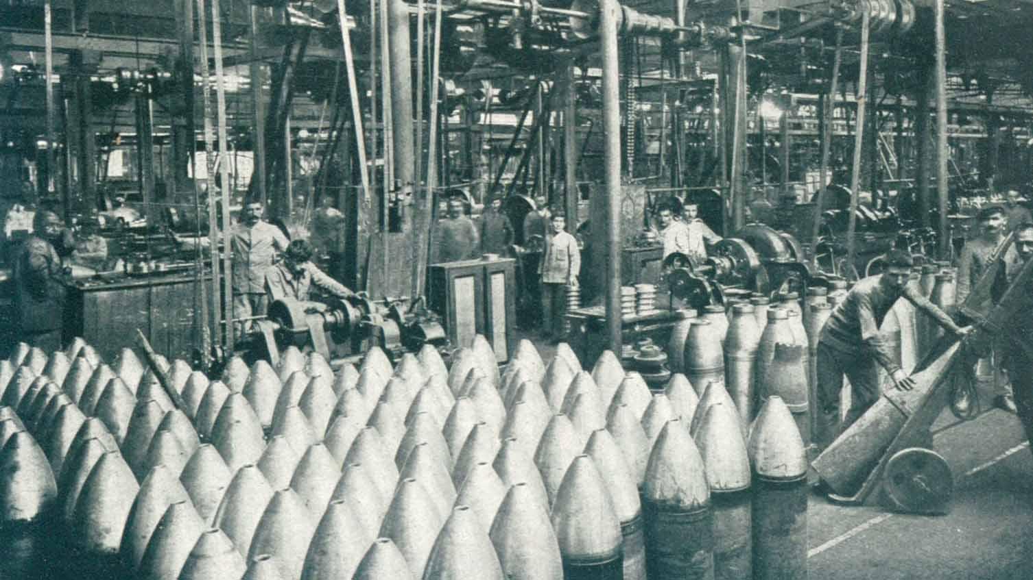 Turning cast-iron shells (detail)