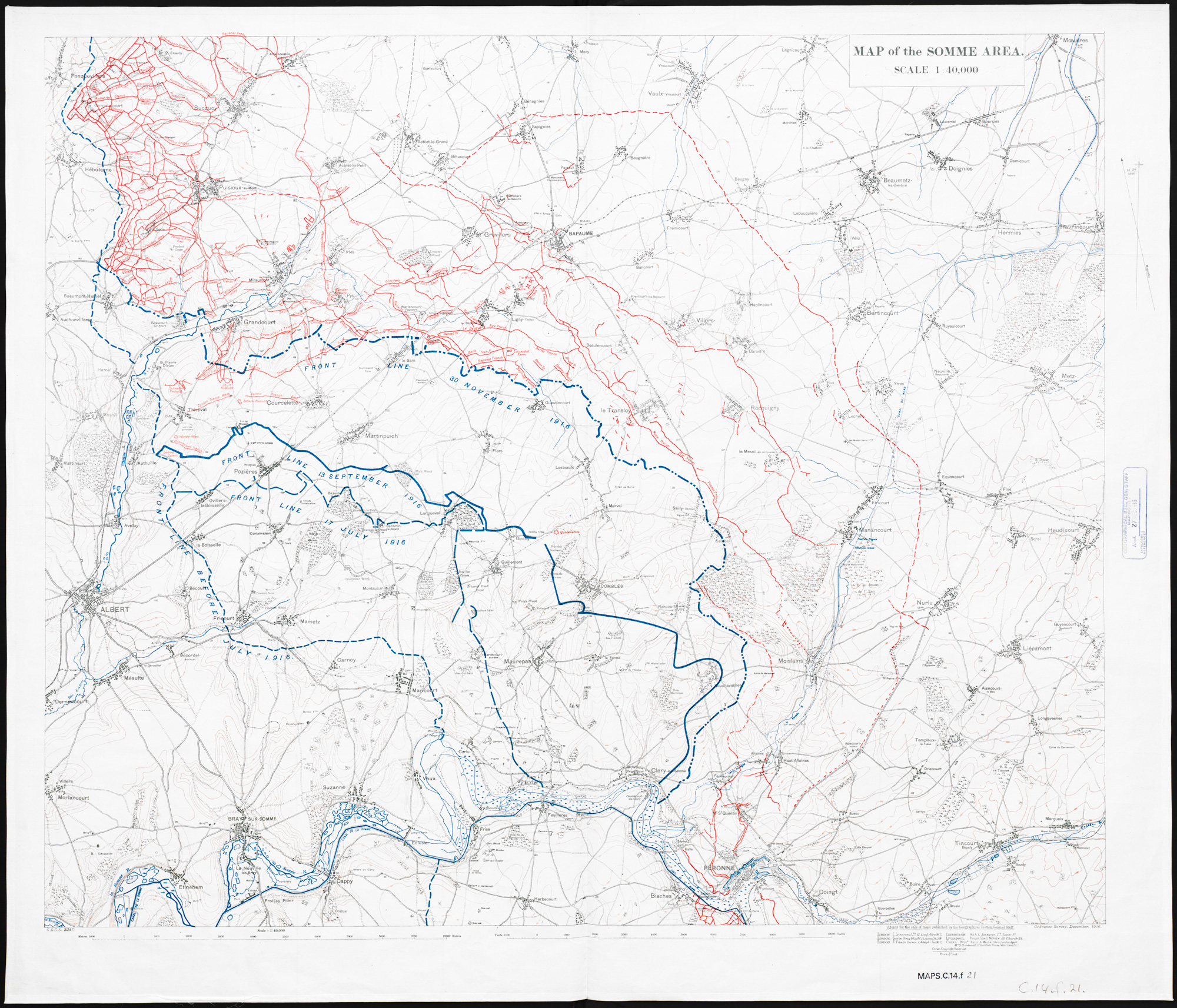 Map of the Somme area. Dec.1916.