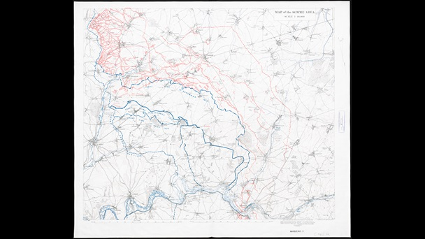 Map of the Somme area, December 1916, with blue lines marking the front line at different dates