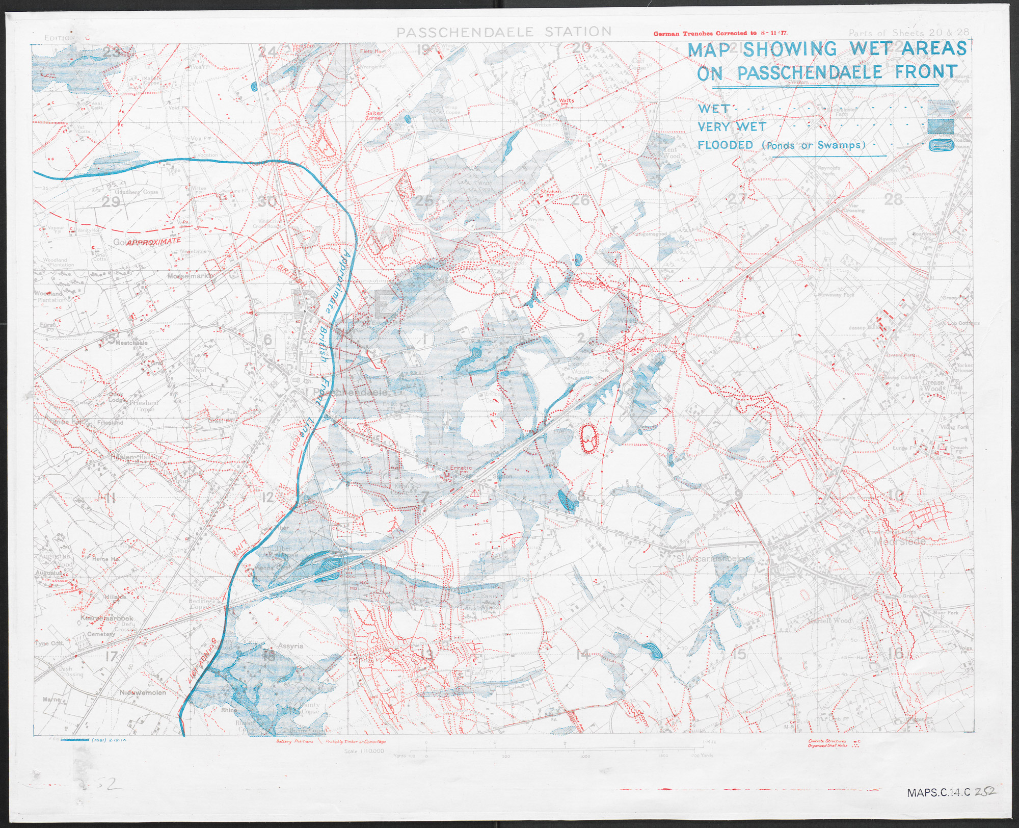Map showing the Allied front line at the Ypres Salient on 2 December 1917, weeks after the end of the Battle of Passchendaele. The blue shaded areas mark the wet and waterlogged areas facing the Front.