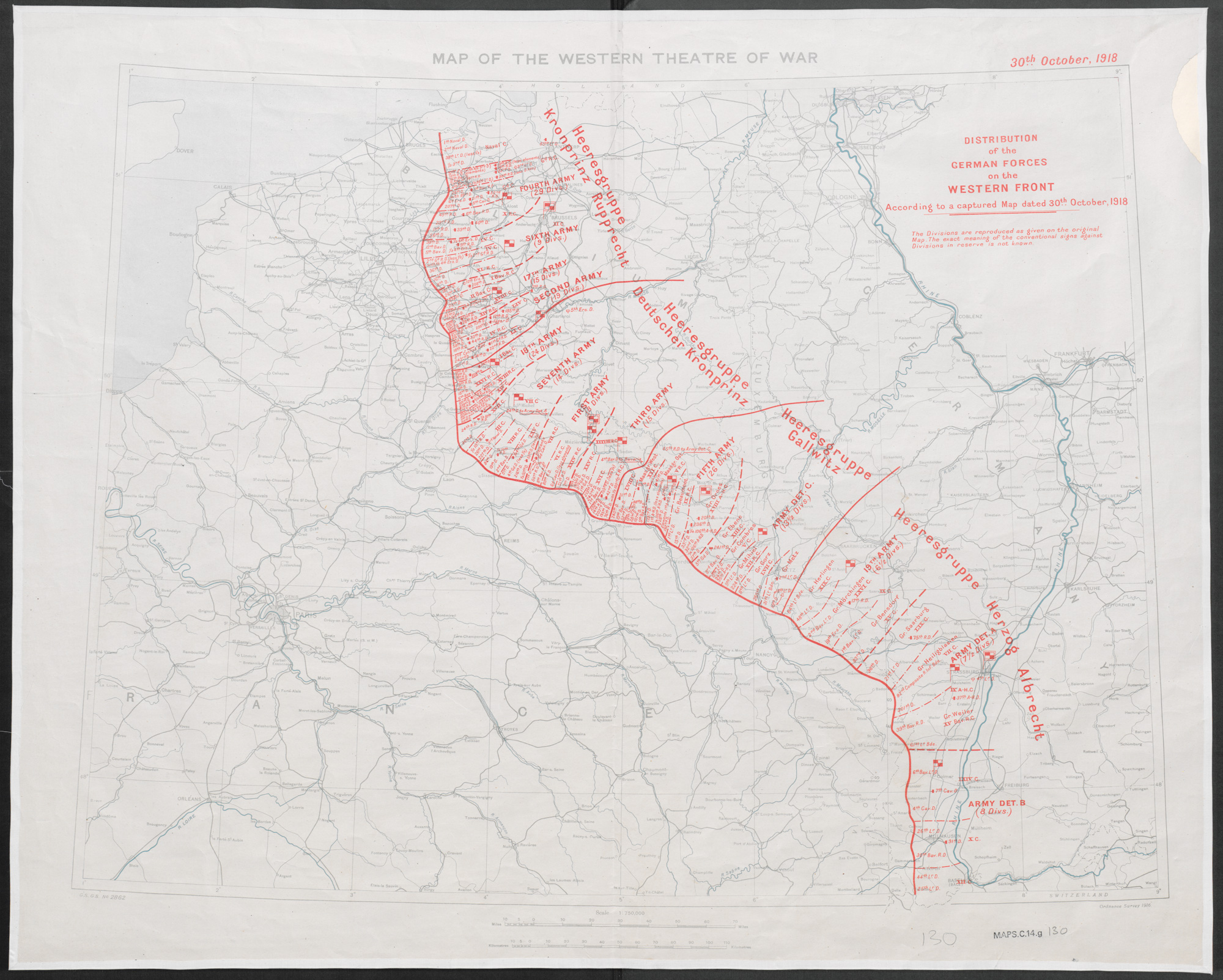 Distribution of German forces on the Western Front according to captured map dates 30th Oct. 1918. 1:750,000.