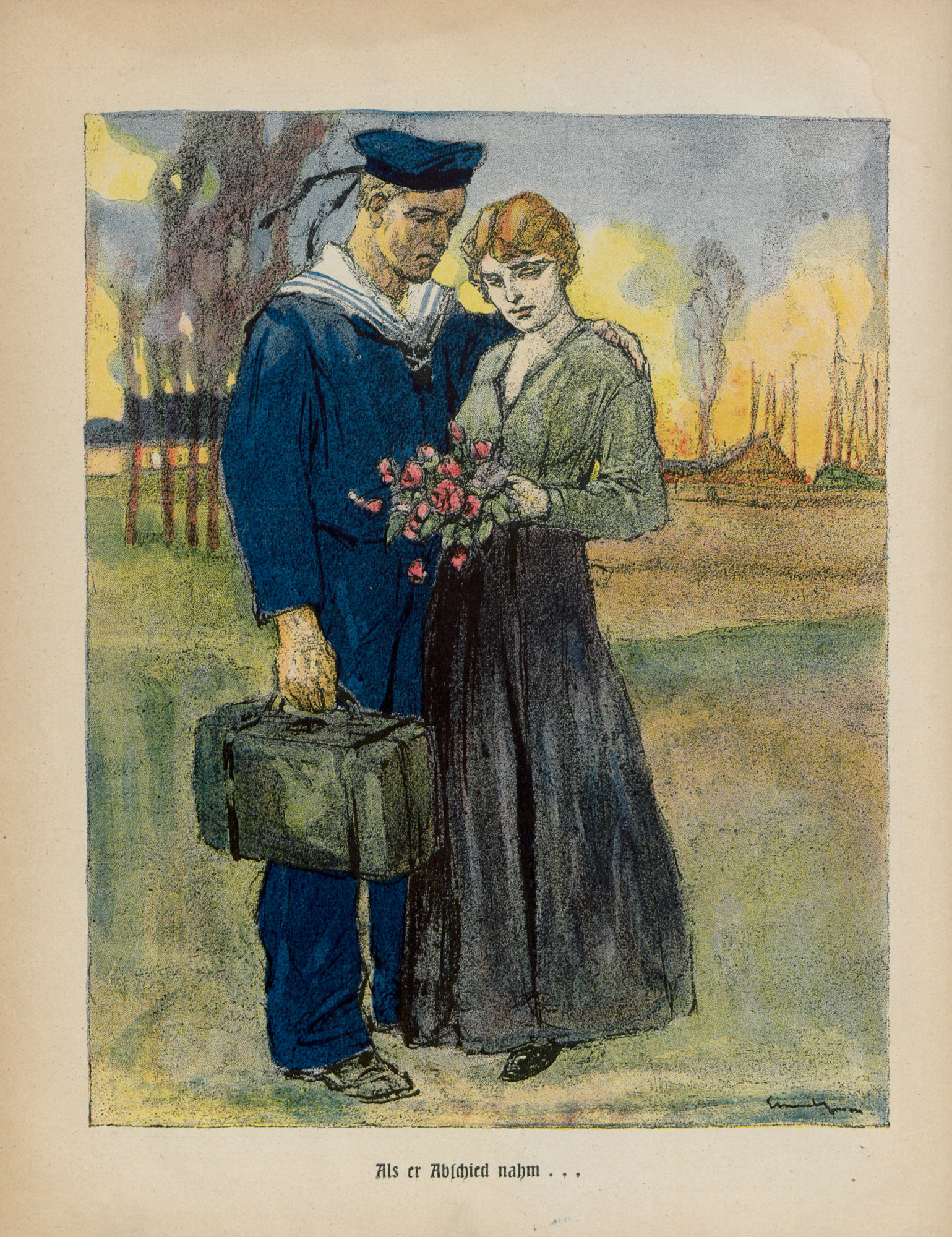 Image from 'Our blue-jackets', a German propaganda leaflet, 1916.