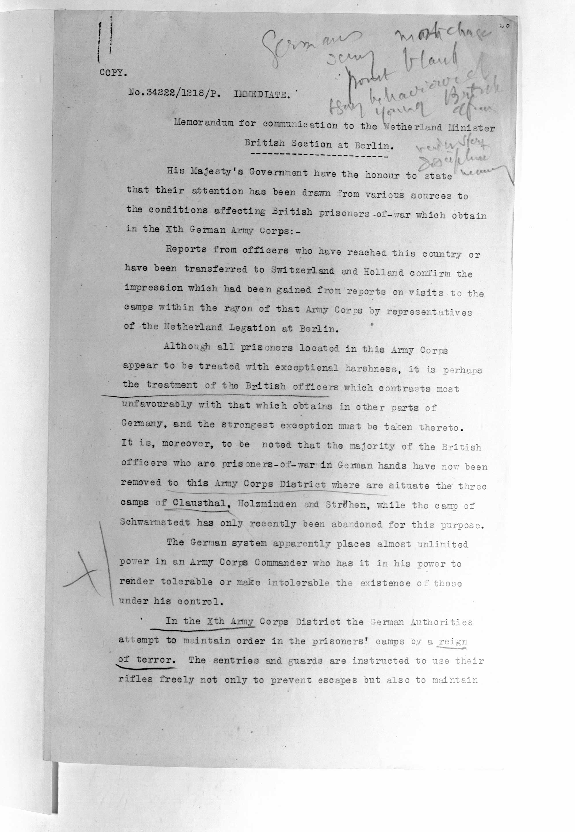 Memorandum for communication to the Netherlands Minister and a statement from the German authorities in reply. From the papers of George Cave, Home Secretary