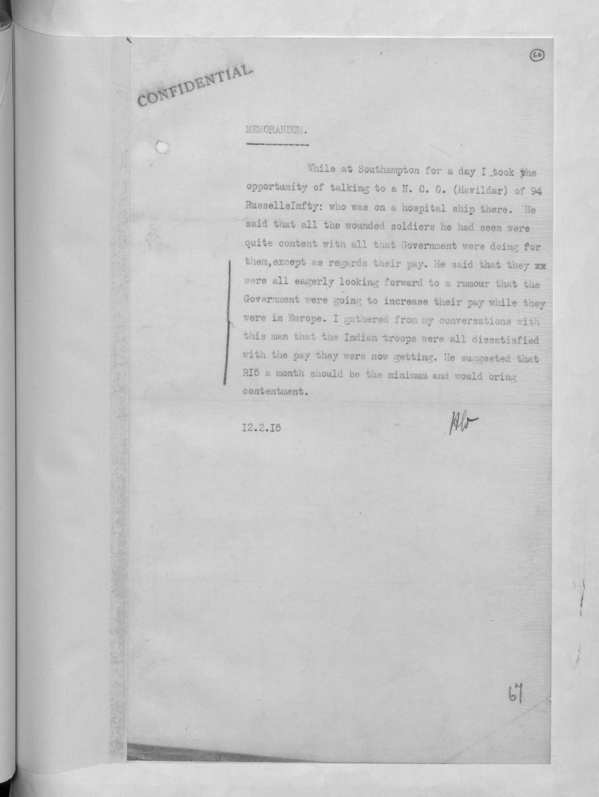 Memorandum from the censor of Indian mail describing Indian troops' dissatisfaction with pay, 1915.