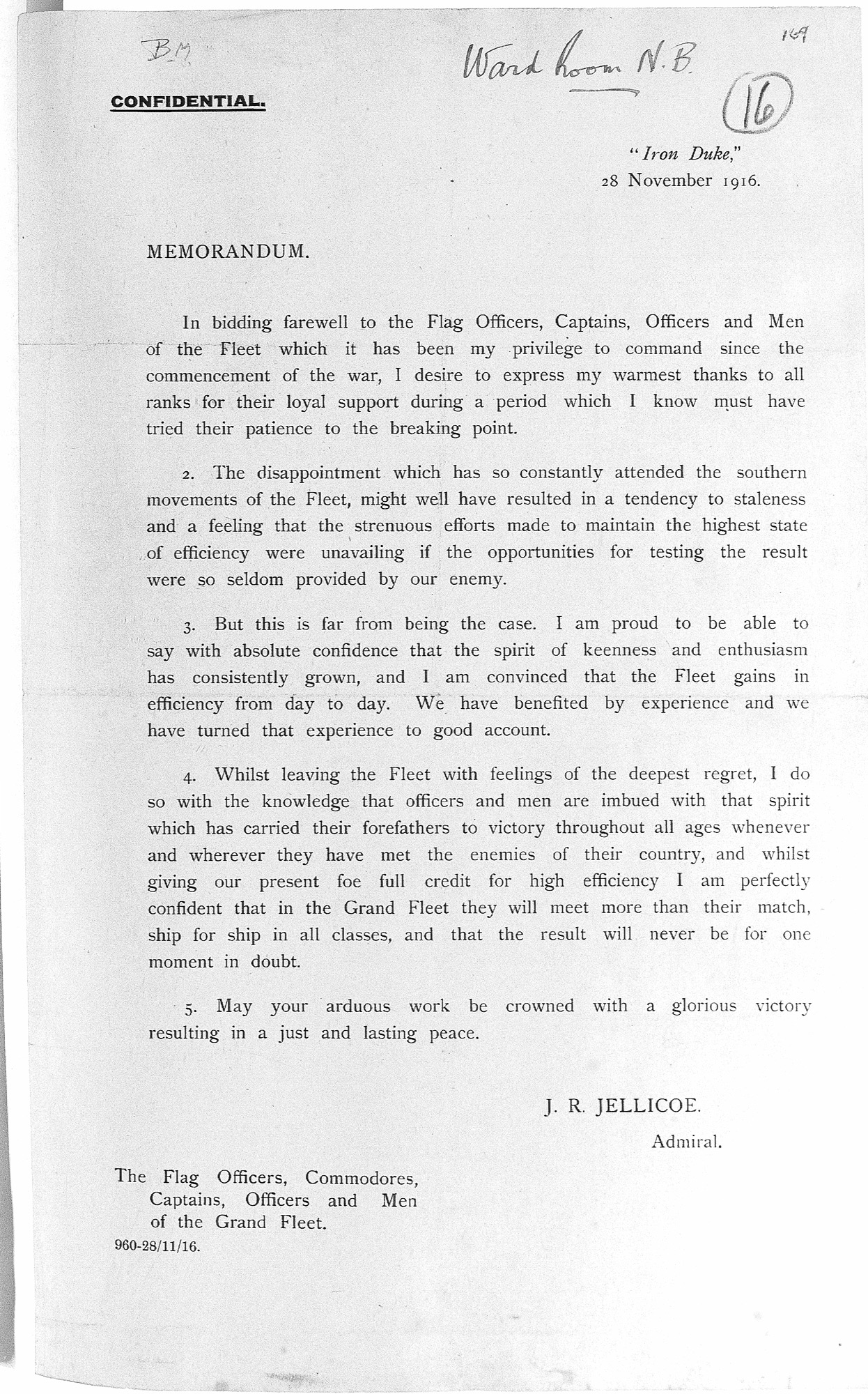 Memorandum issued by Admiral Jellicoe when he left the post of Commander-in-Chief of The Grand Fleet to become First Sea Lord in 1916.