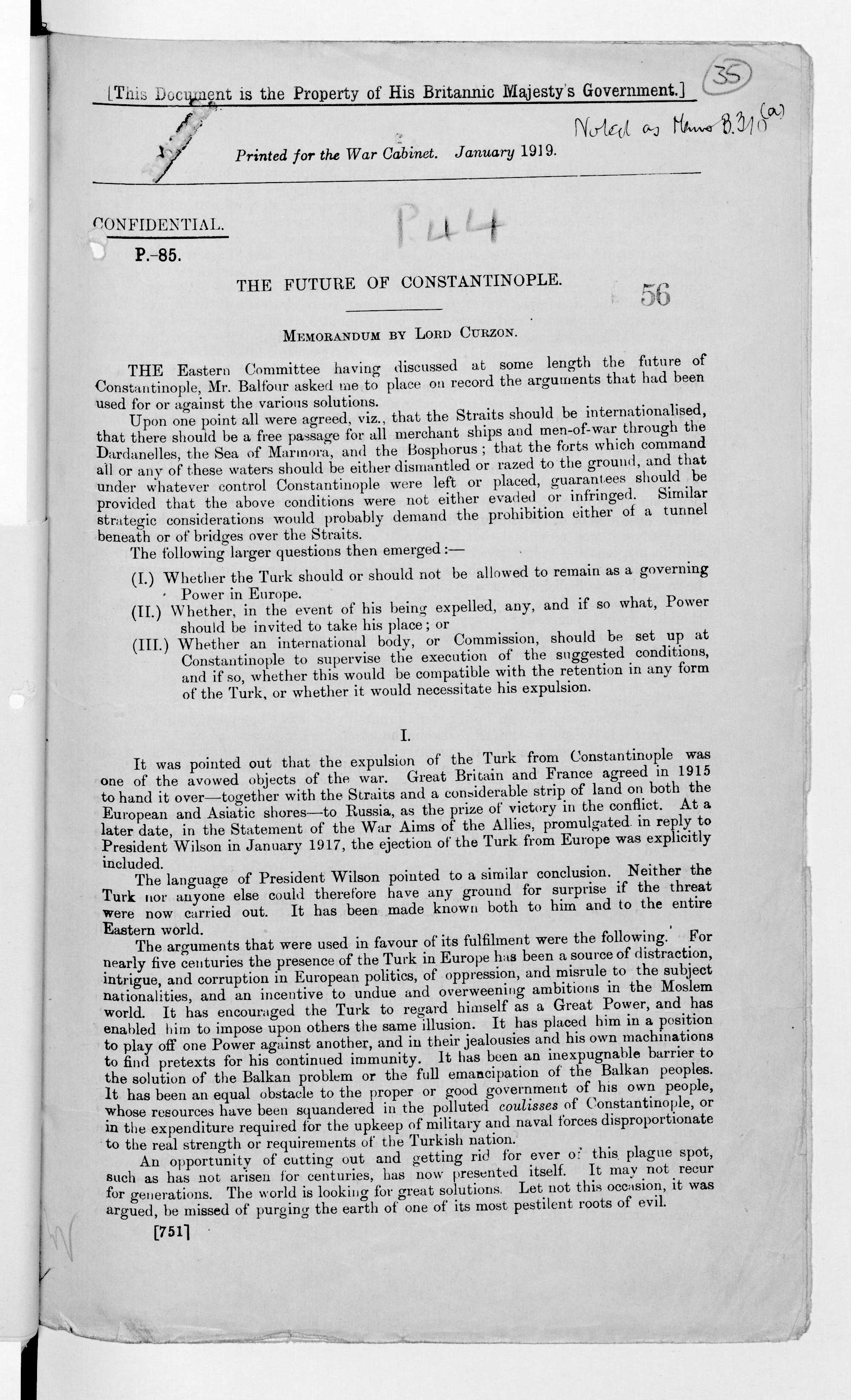 Memorandum by Lord Curzon, summarising the debates regarding the future of Constantinople (modern-day Istanbul). 2 January 1918.