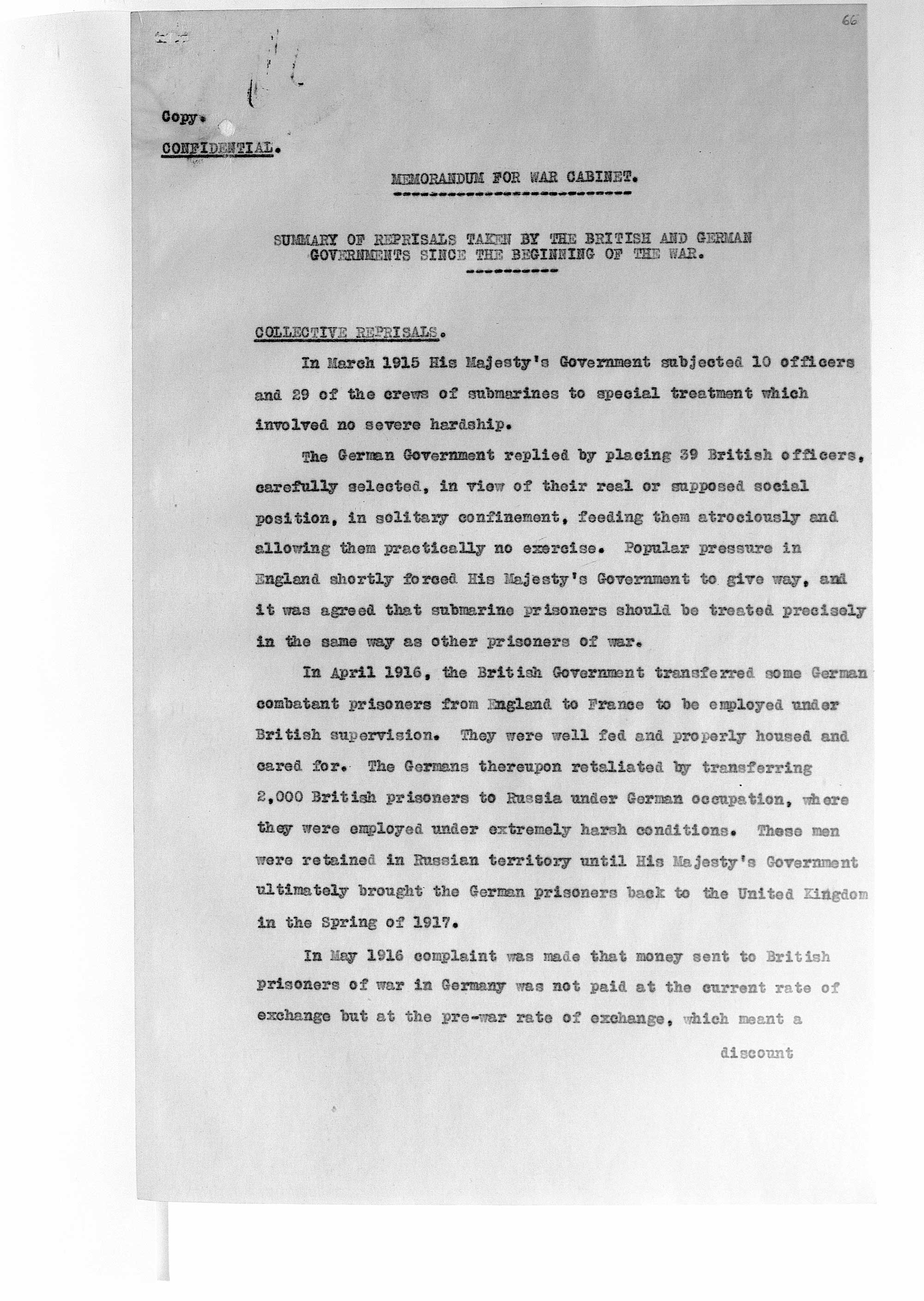 Memorandum for War Cabinet. Summary of reprisals taken by British and German governments since the beginning of the war (Cave Papers)
