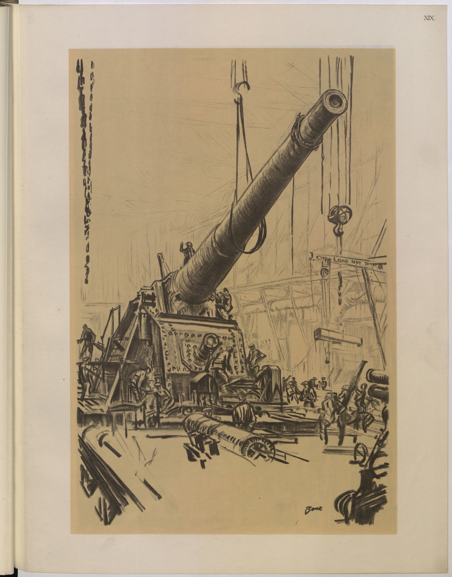 'Mounting a great gun' by Muirhead Bone, official British War Artist, which emphasises the scale and complexity of modern warfare.