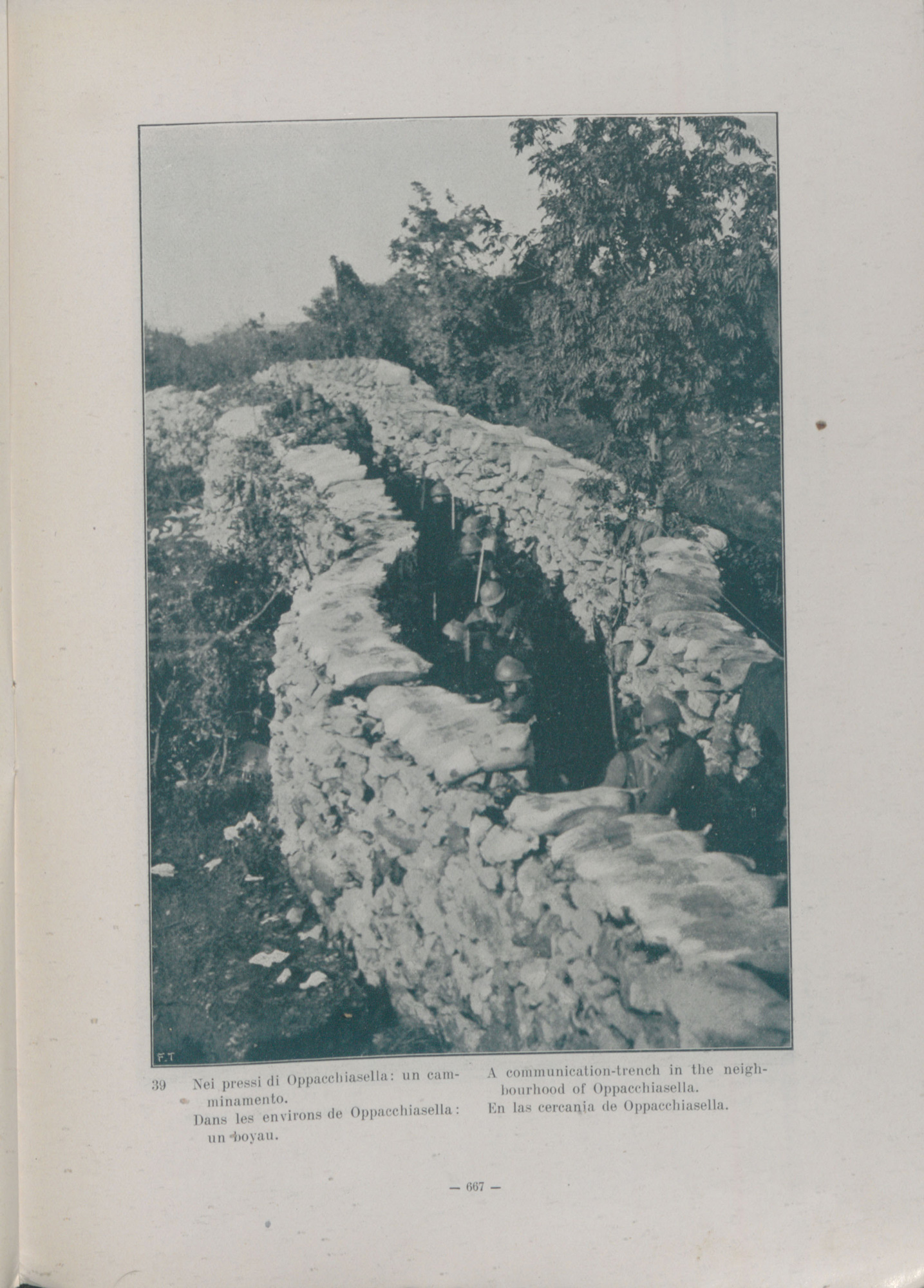 Communication trenches constructed from walls of sandbags, connecting the fire trench with the reserve trenches. This was taken near Oppachiasella on the Italian-Slovenian border.