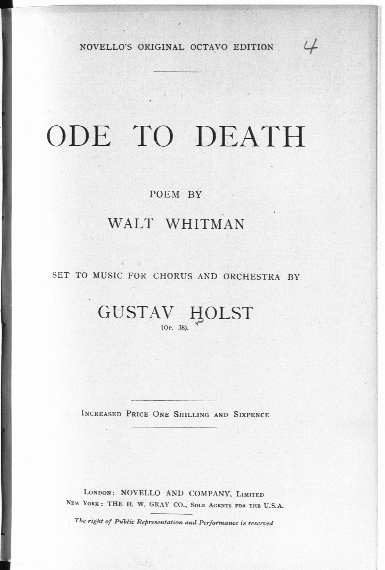 Composed in 1916-17, Gustav Holst's Ode to Death was written after he returned from entertaining the troops in Salonica.