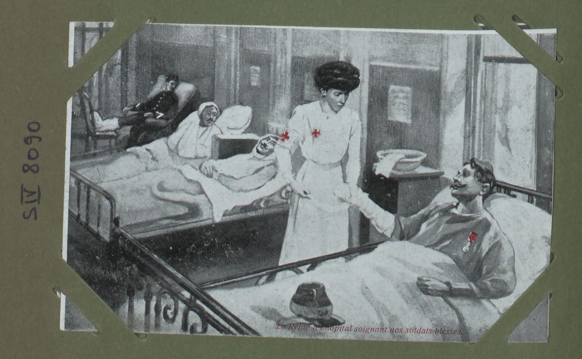 Postcard showing Queen Elisabeth, wife of King Albert I of Belgium, visiting wounded Allied soldiers.