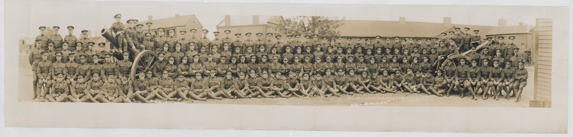 Photograph showing men from the No. 6 McGill Battery. This Battery was formed of undergraduates and graduates from McGill University in Montreal.