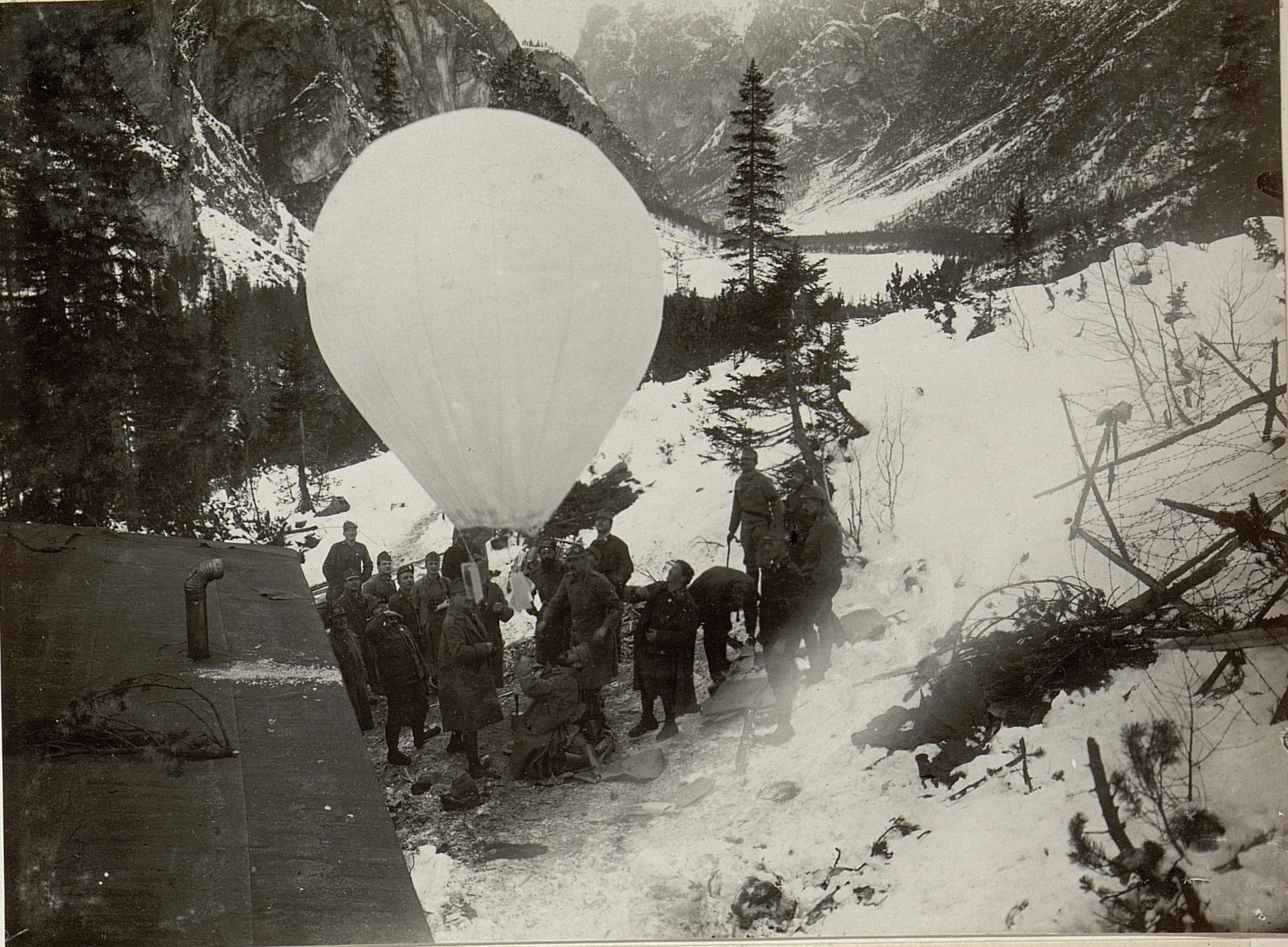 Paper balloon with proclamations is launched from Monte Piano