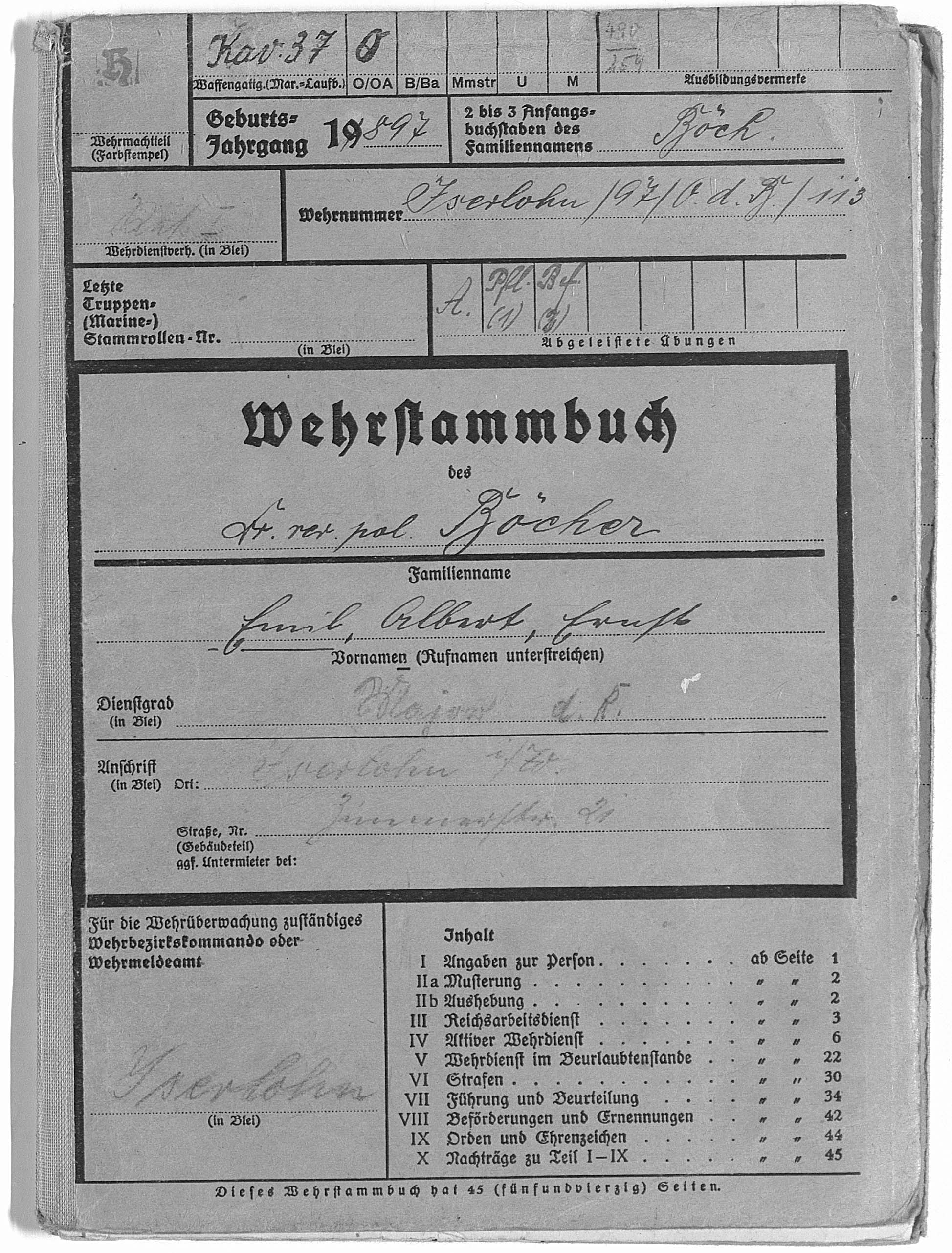 Pay book and service record
