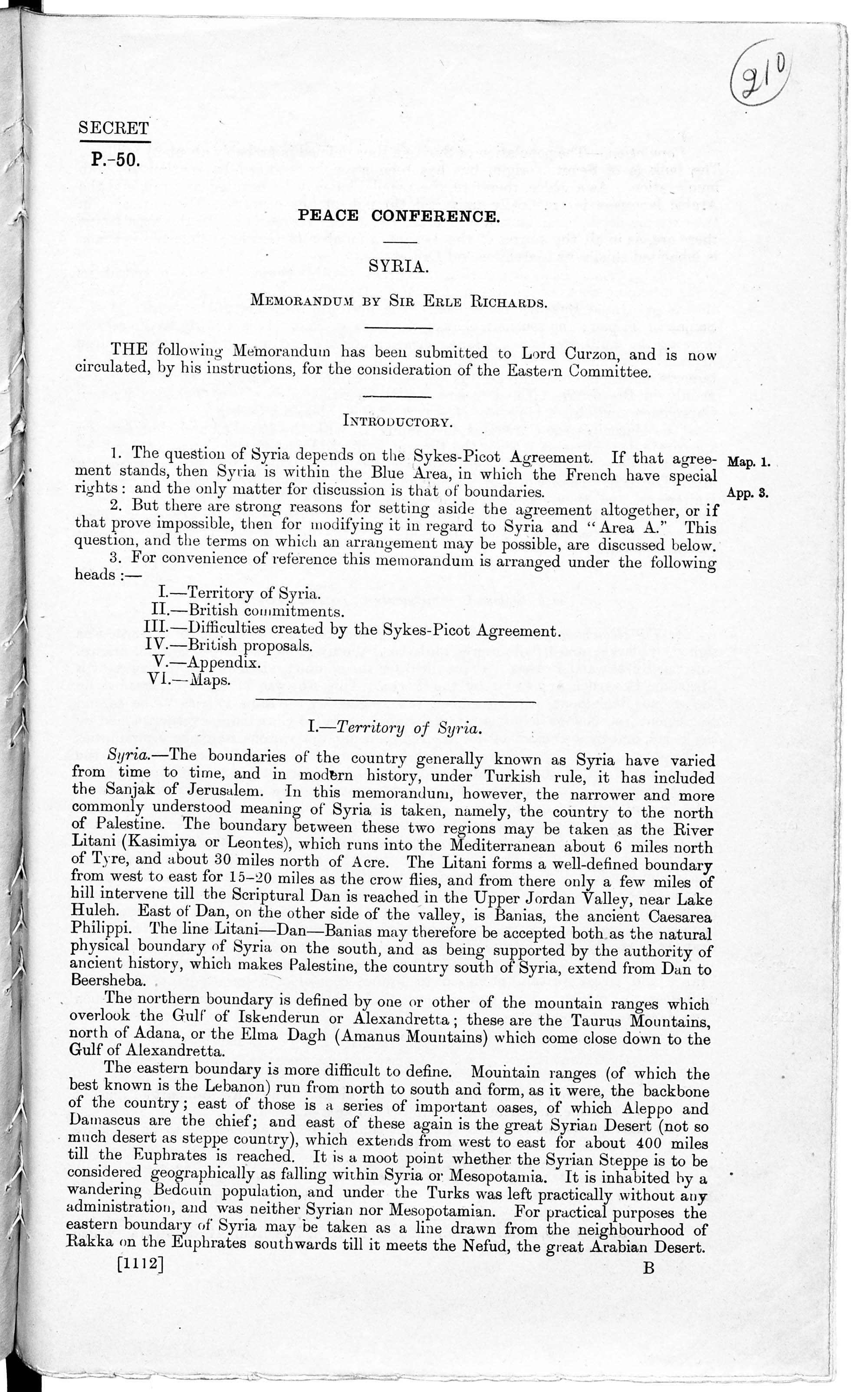 Pages from three memoranda prepared by Sir Erle Richards, summarising British commitments in Syria, Arabia and Palestine, and outlining British policy to be pursued at the Paris Peace Conference.
