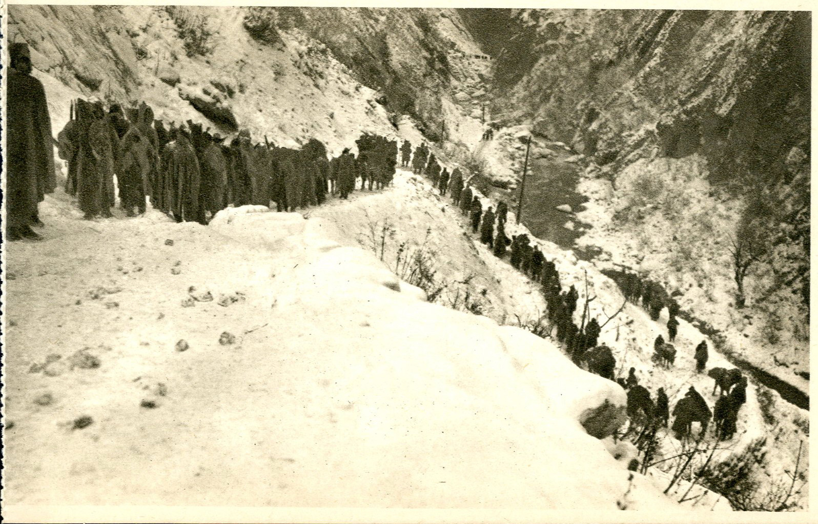 The Serbian army and civilians retreating through the harsh winter mountains of Montenegro, from Peć to Andrijevica, during the winter of 1915-16.