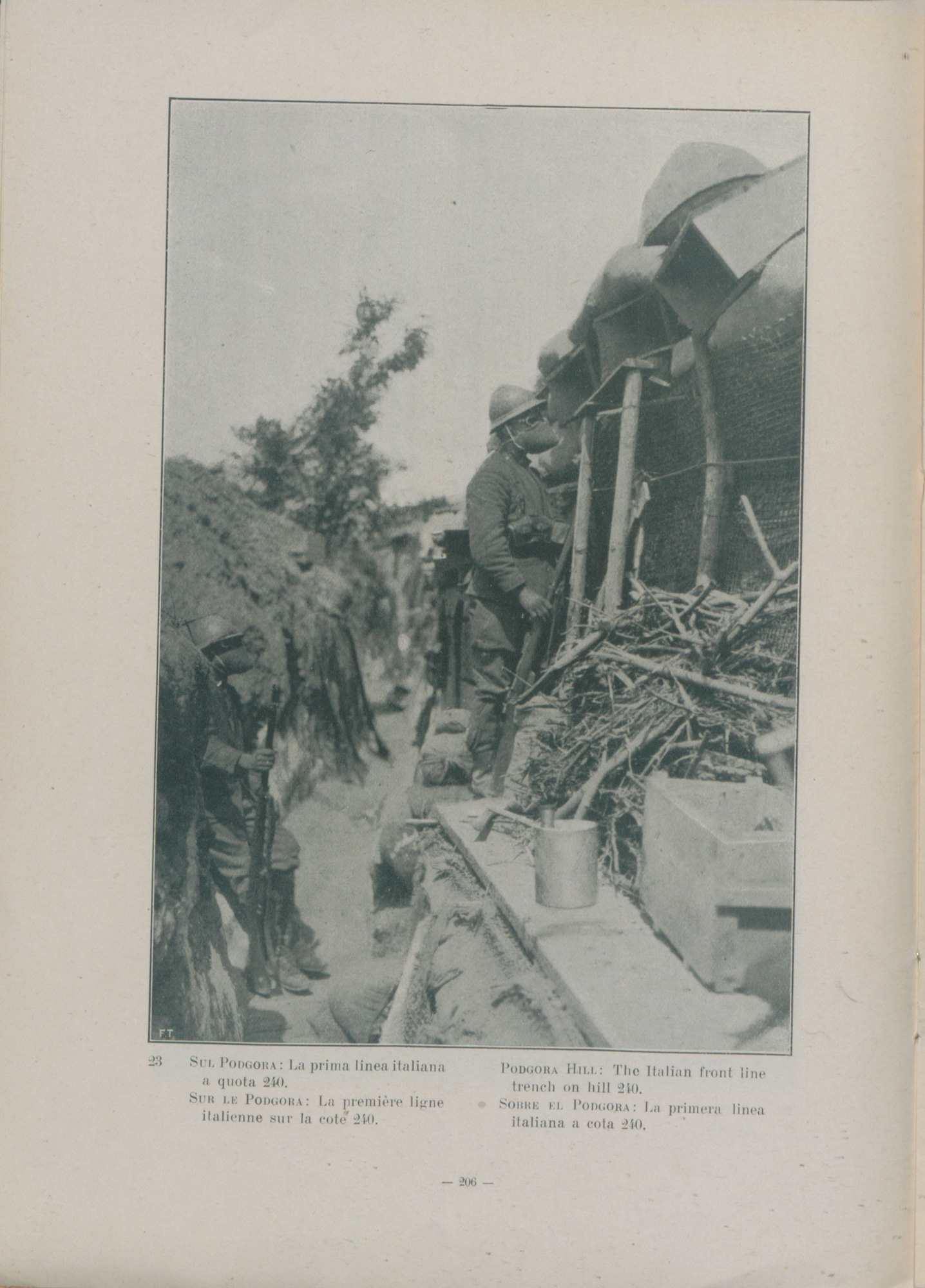 Italian army corps of Carabinieri in a trench on Podgora Hill, Gorizia at the Italian Front. They are facing the Austro-Hungarian army and wearing early rudimentary gas masks.
