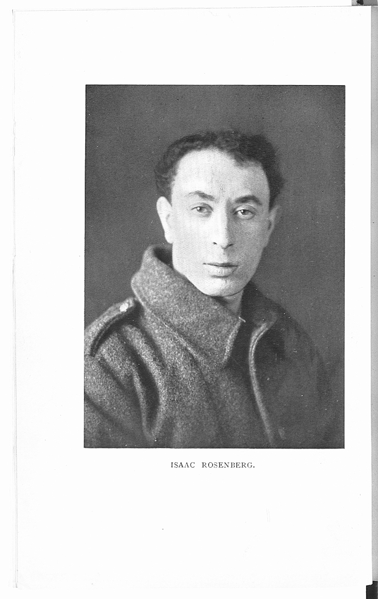 Photograph of Isaac Rosenberg from 'Poems' (1922). Rosenberg was killed in action on 1 April 1918.
